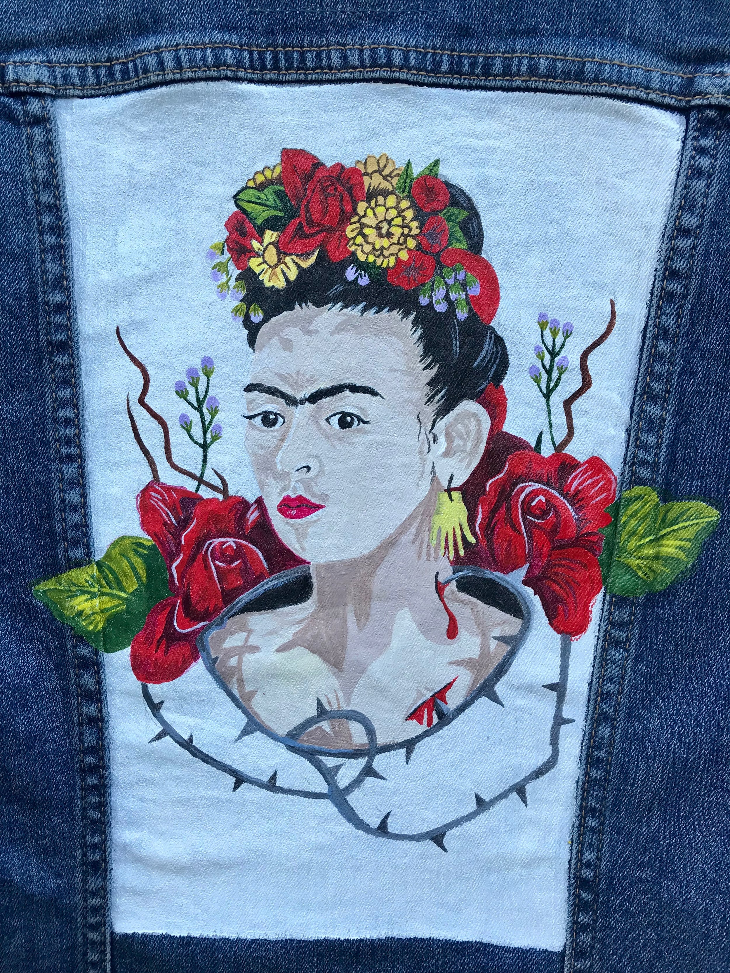 Day 296. Hand-Painted Frida Kahlo Jean Jacket