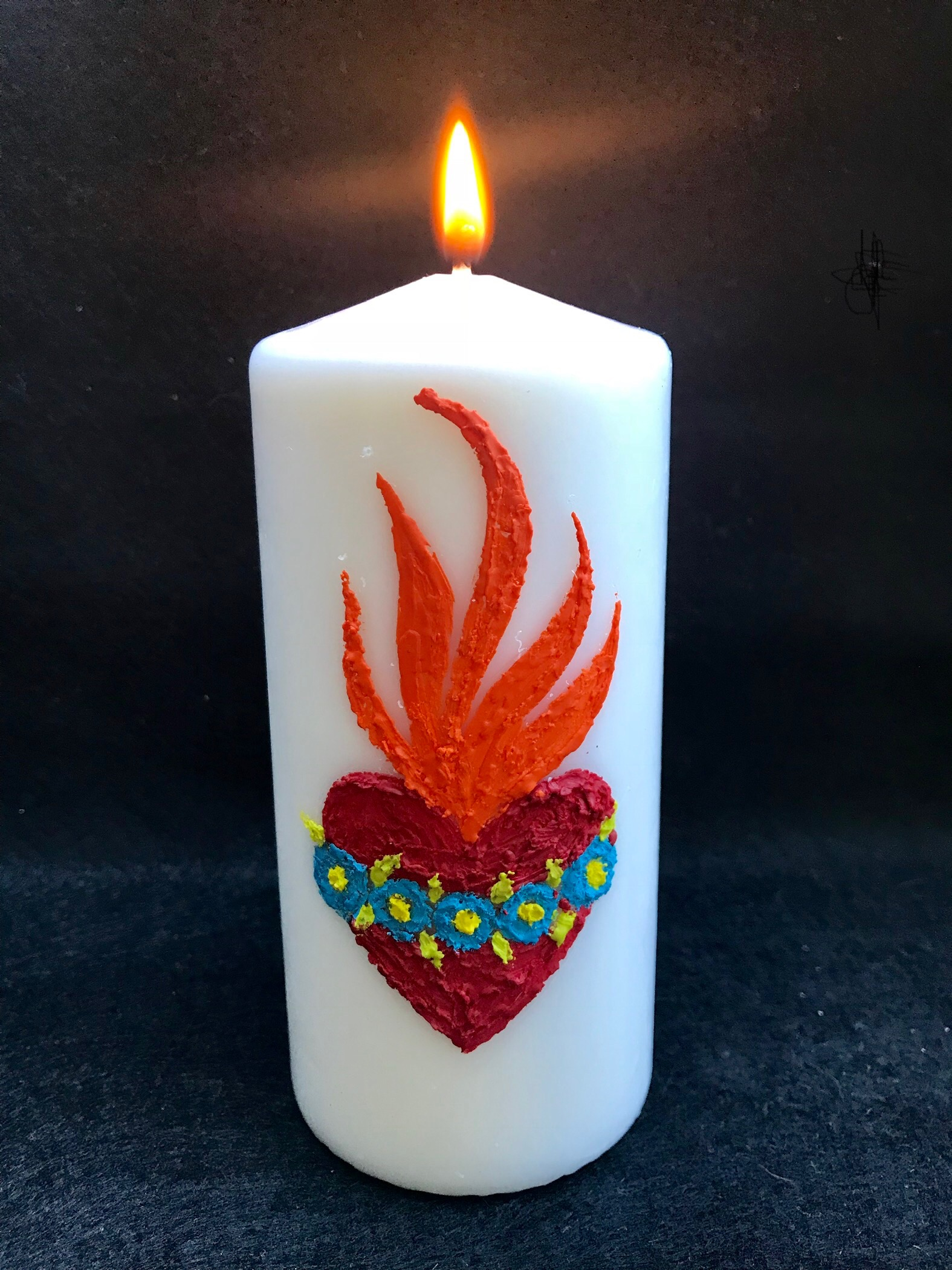 Day 307. Candle decorating with melted Crayons