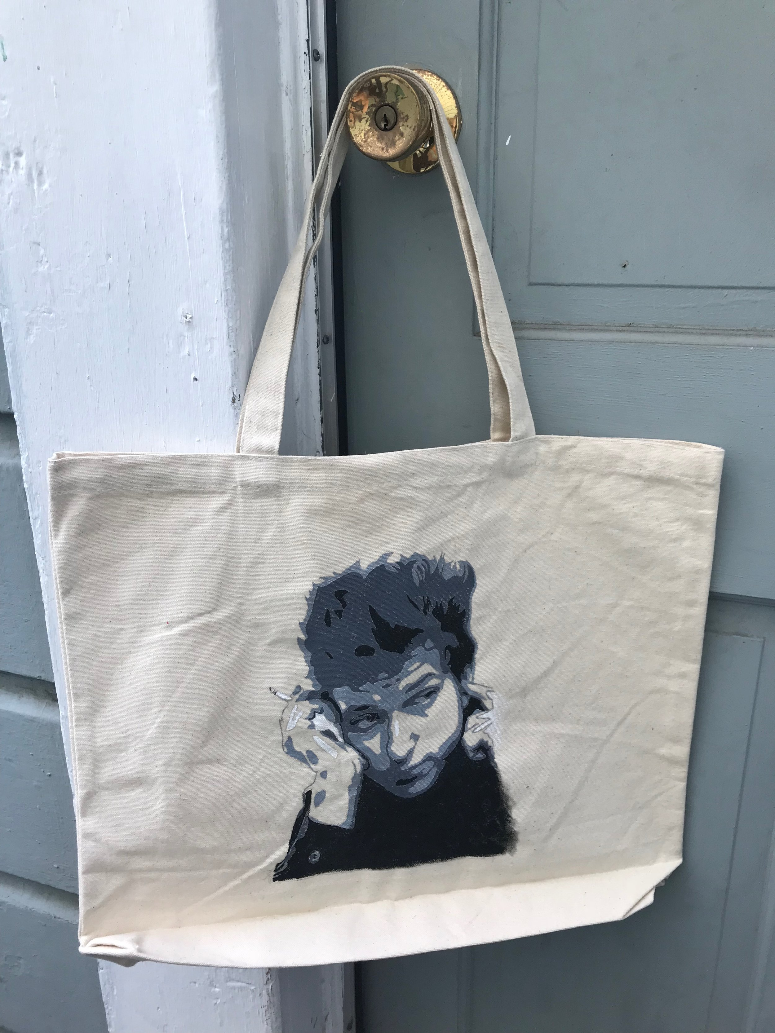 Day 309. Hand-Painted Bob Dylan Tote Bag