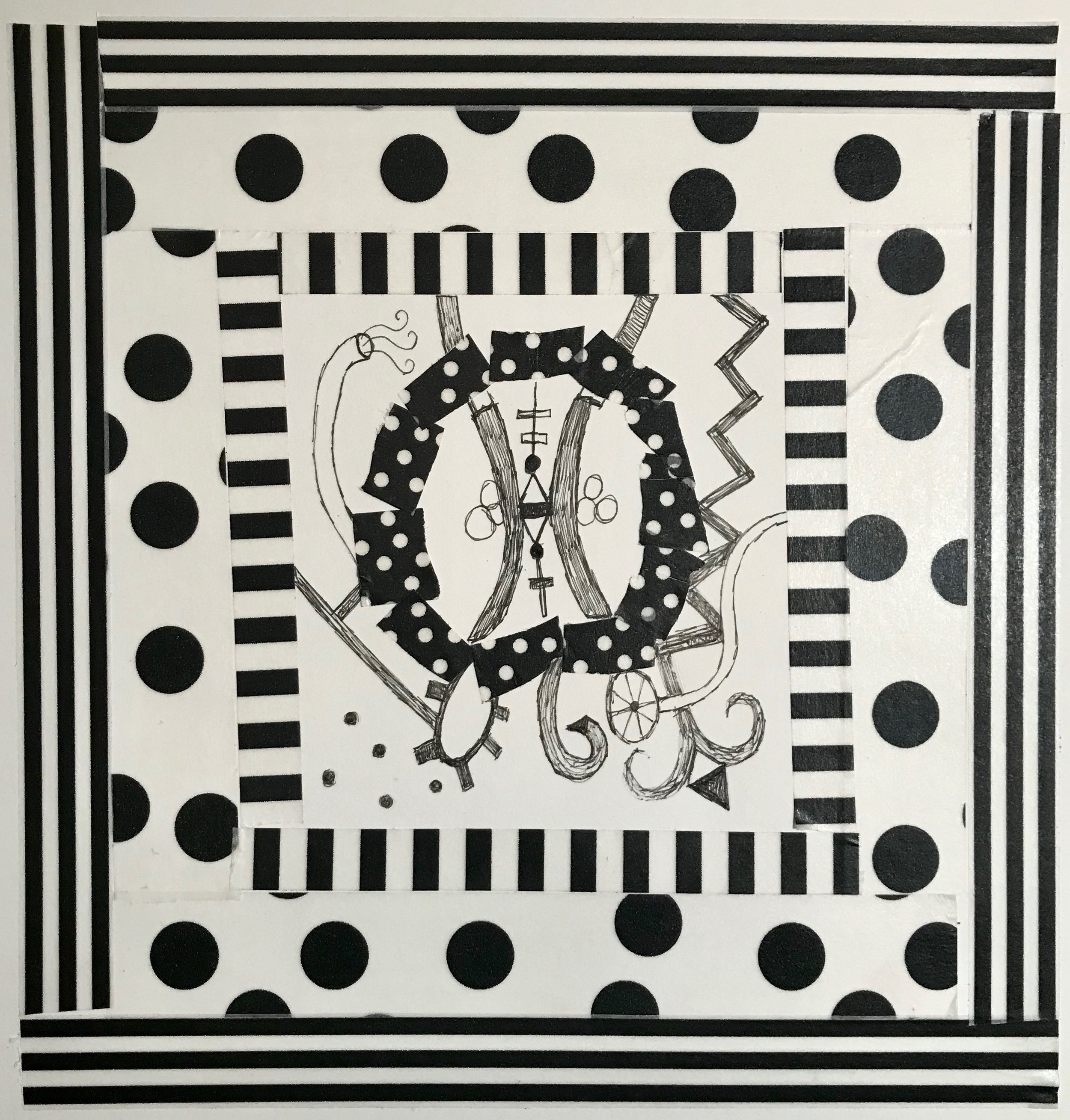 Day 345. Black and White drawing with pen and decorative tape