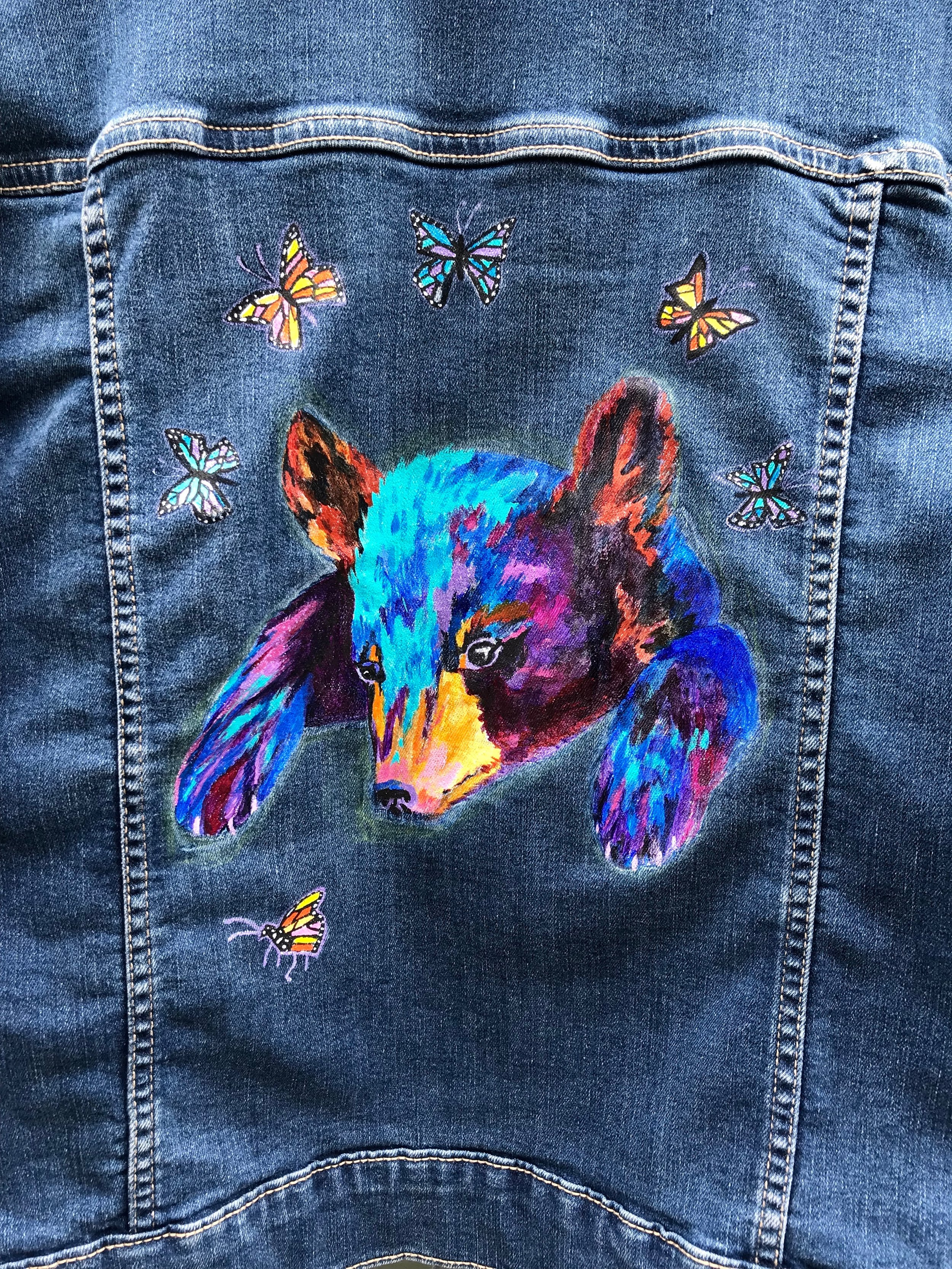 Day 356. Hand-painted Bear with Butterflies on a Jean Jacket