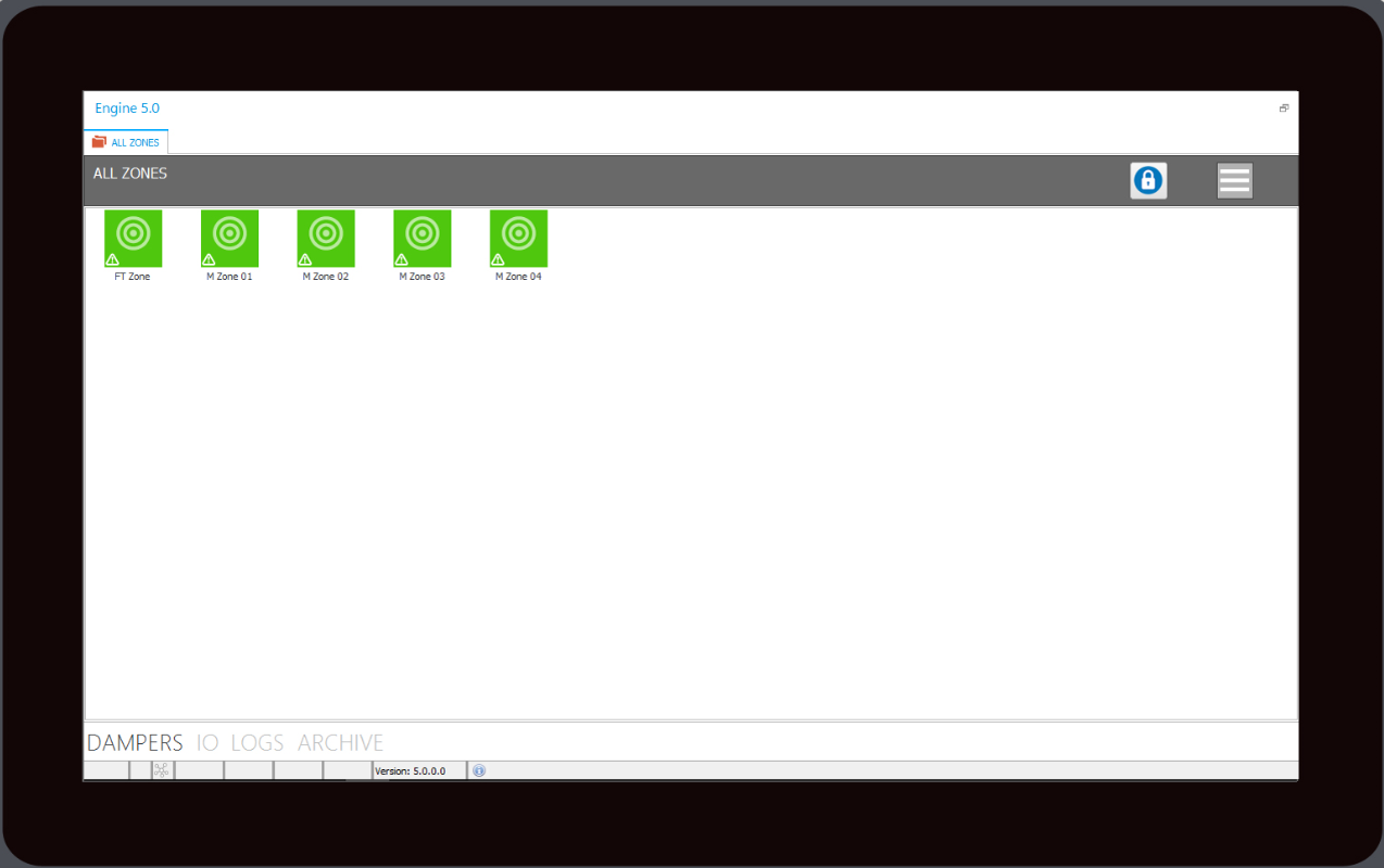Figure 1. The screenshot shows the dampers in the system and the icon indicates status. Information on each damper, damper group and event logs are displayed.
