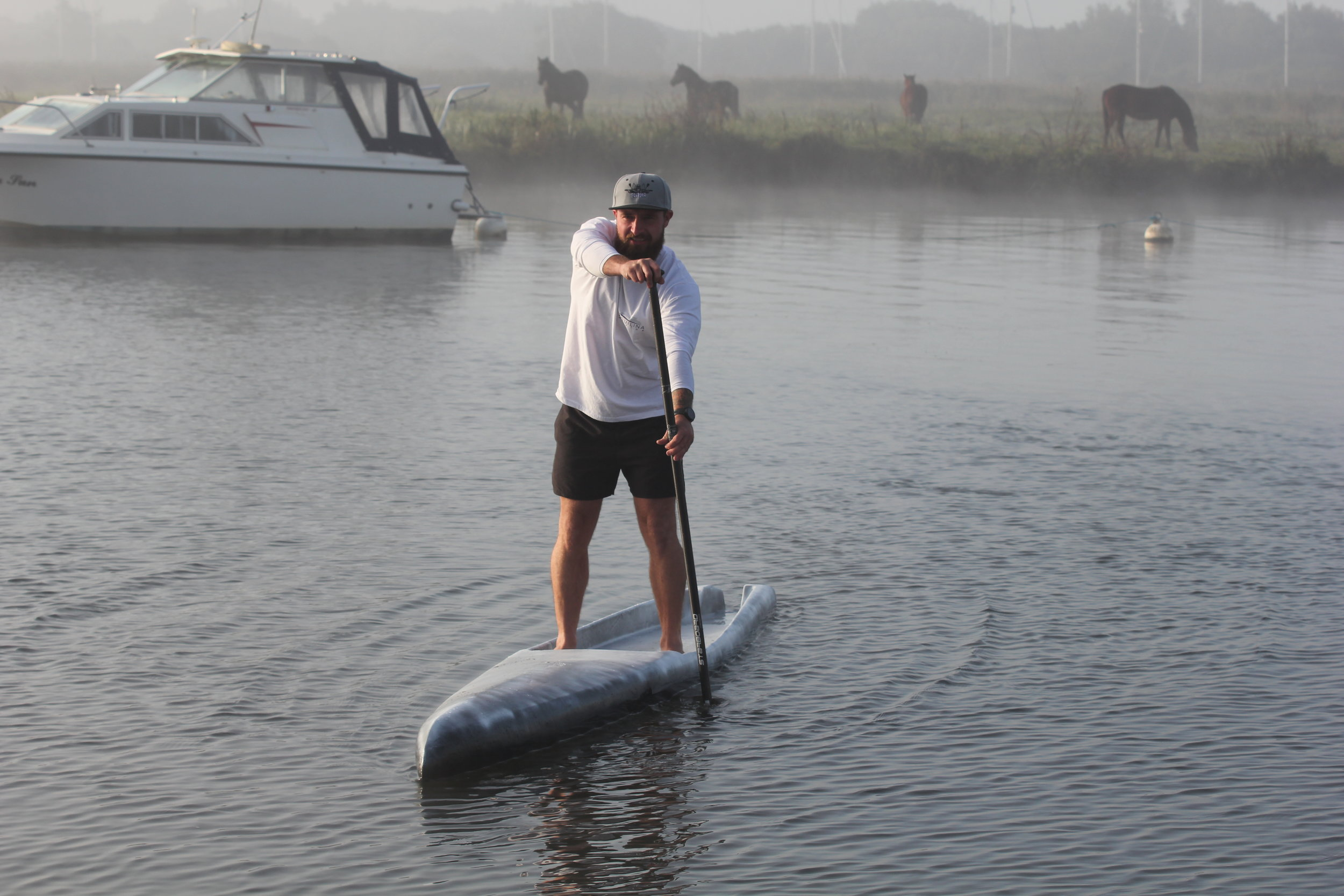 Saviour Testing the new 'stealth bomber' race SUP. Photo - Andy White / September 2018