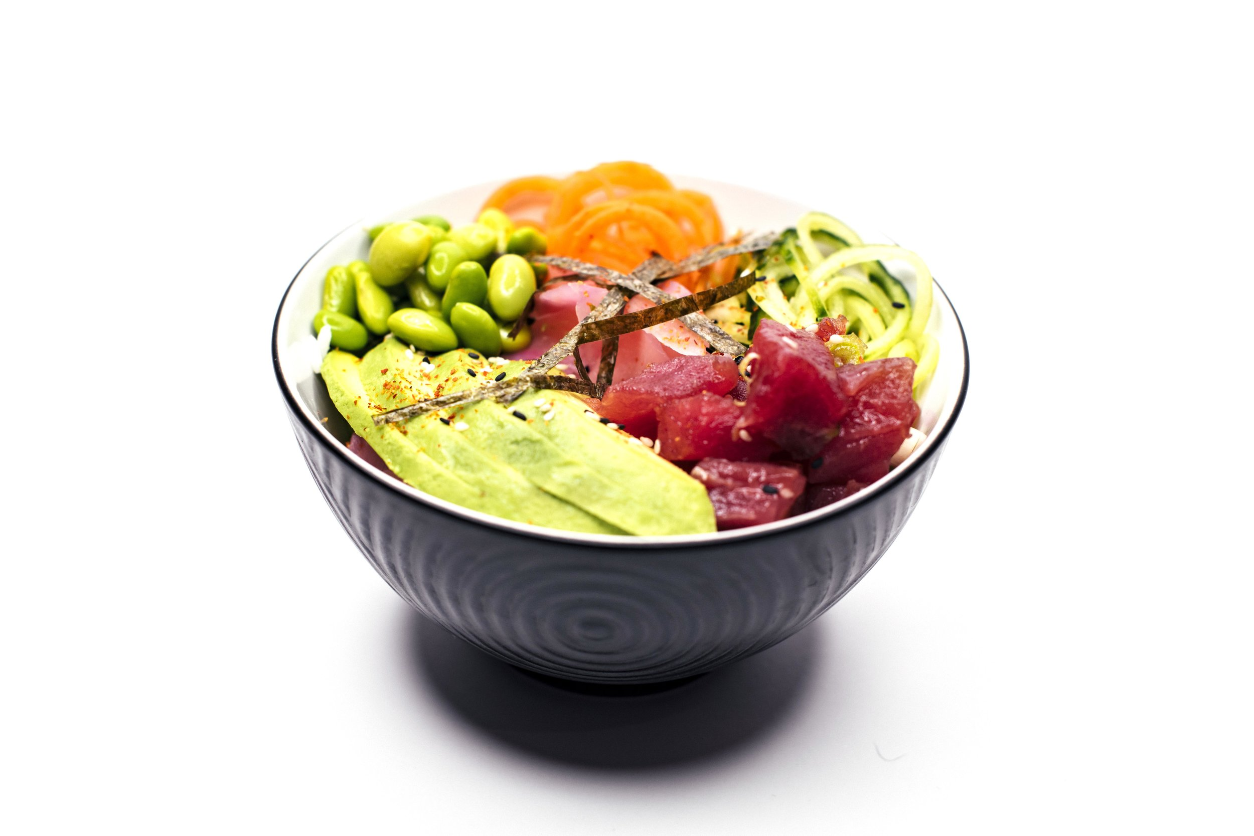 TUNA FIRE BOWL - Tuna, Rice, Cucumber, Carrot, Edamame Beans, Pickled ginger, Avocado, Shredded Nori, Ponzu Power Sauce