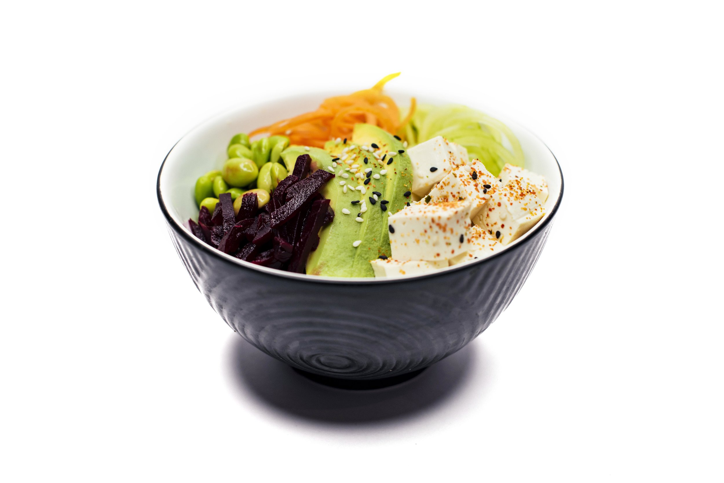 TOFU BOWL - Tofu, Rice, Cucumber, Edamame Beans, Carrot, Pickled Beetroot, Avocado, Creamy Wasabi Sauce