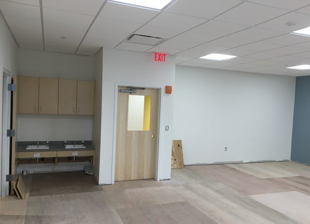 First Floor Classroom- New Cabinets, Sinks, Doors and More