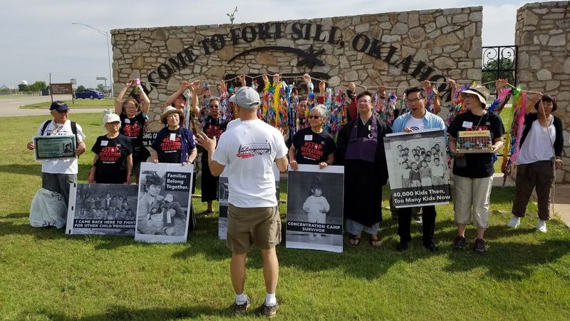 The Six WWII Japanese American Camp Survivors about to Make Their Statements at Fort Sill (Molly Hennessy-Fisk/ LA Times )