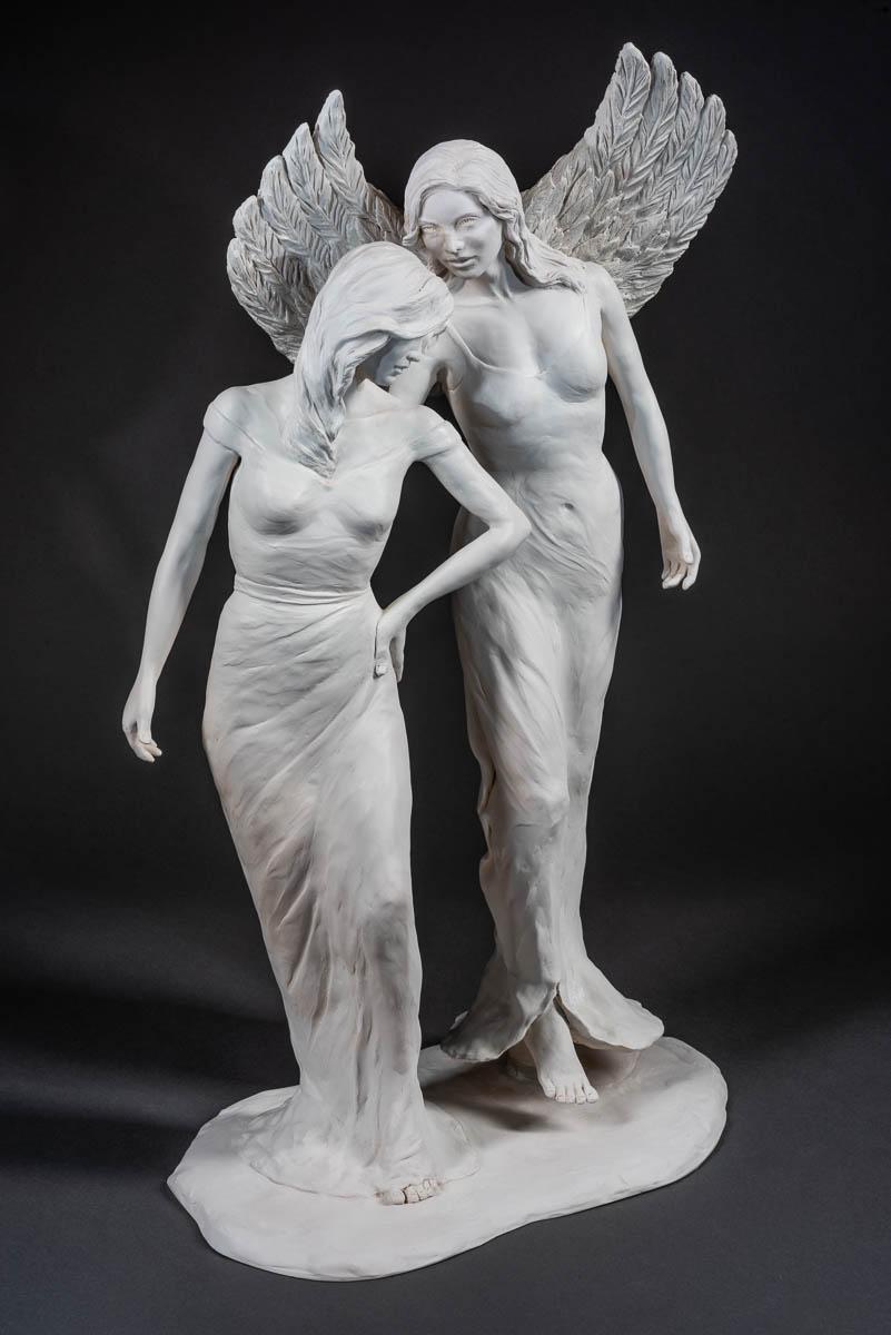"""- Divine Whisper, cast marble, 28"""" × 22"""" × 11""""."""