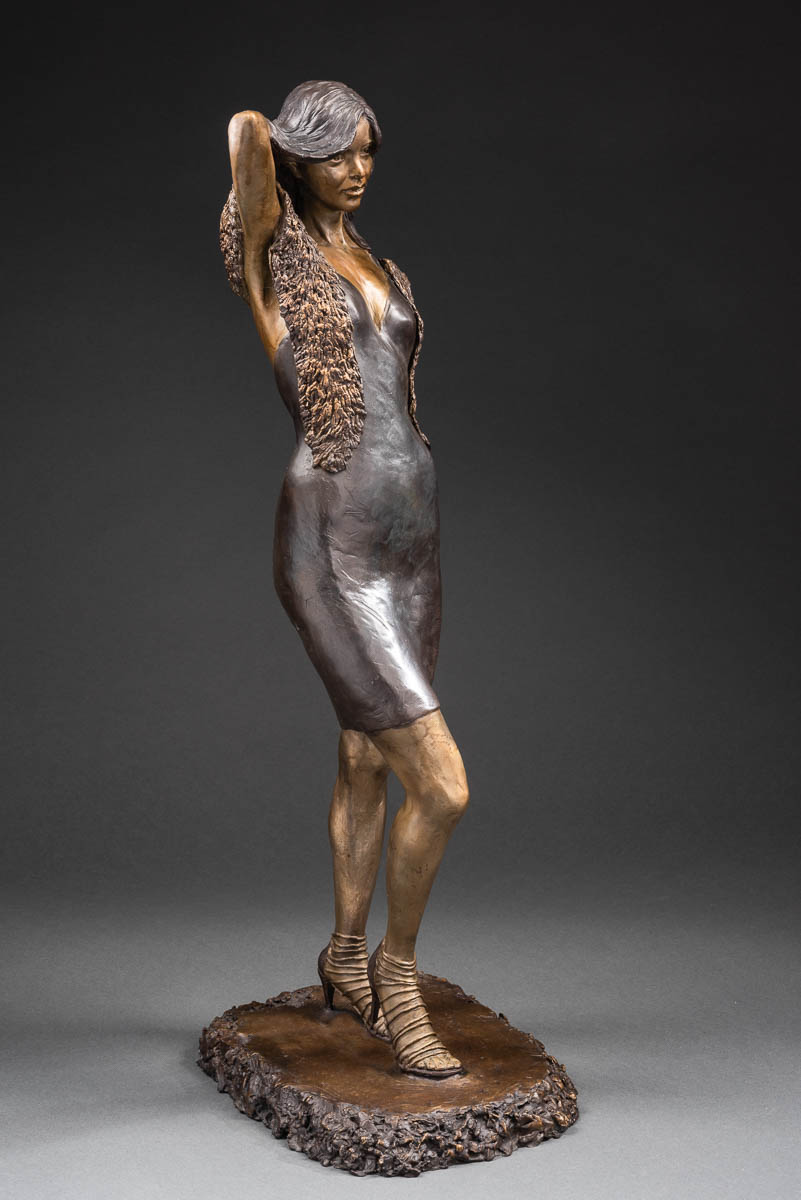 "- Jade, cast bronze, 26"" × 11"" × 10"". Limited edition of 25"