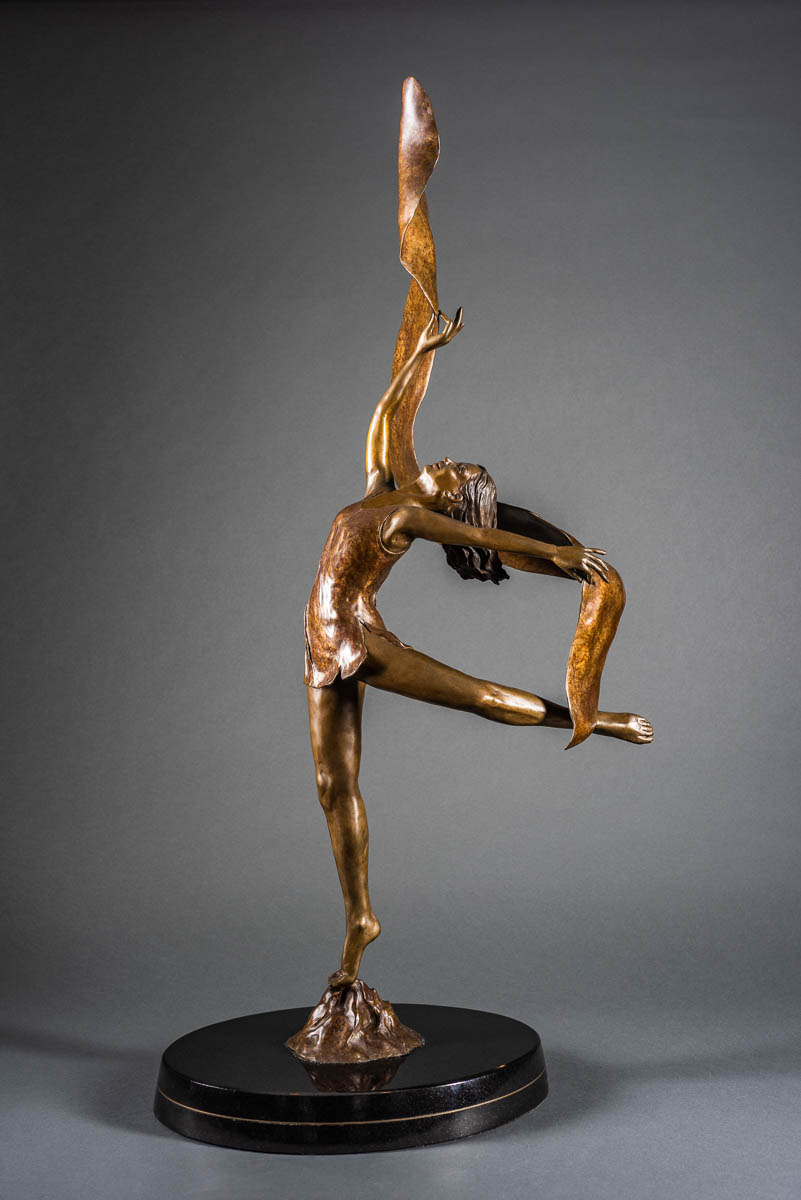 "- Isadora, cast bronze, mounted on black marble, 41"" × 19"" × 6"". Limited edition of 25"