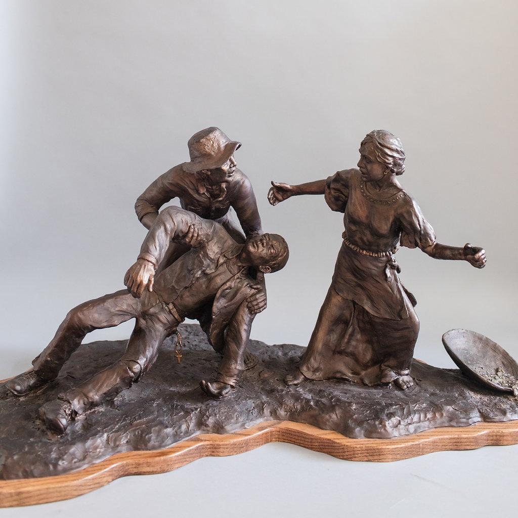 "- Bayanihan Spirit, cast bronze, mounted of hardwood base. 23"" × 38"" × 22""."