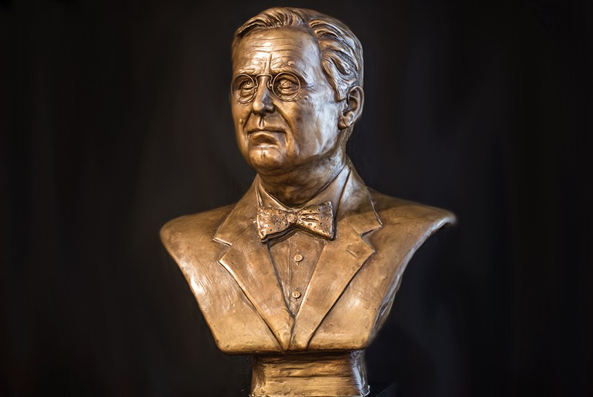 "- Franklin D. Roosevelt, cast bronze, mounted on black marble, 26"" x 19"" x 12""."