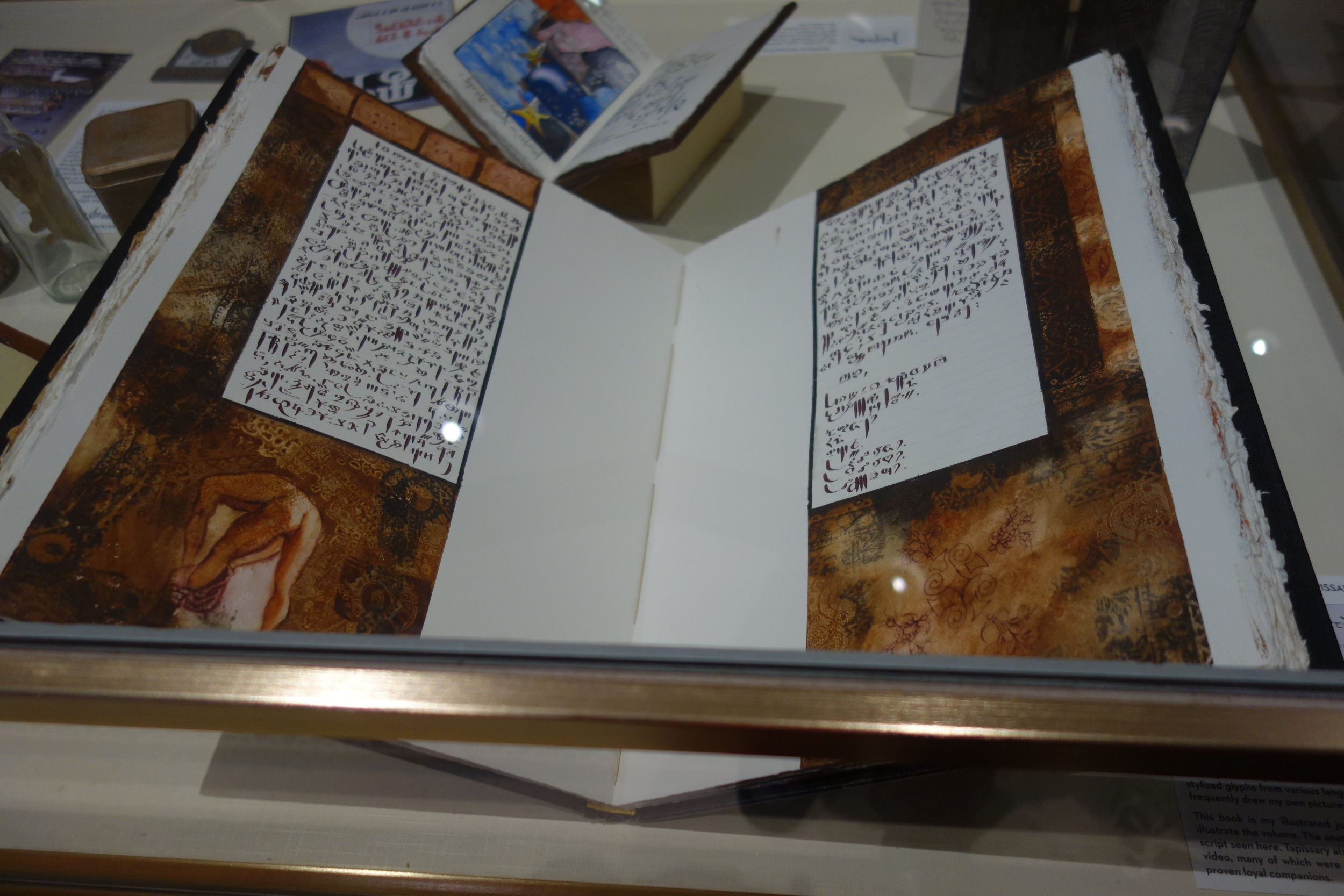 One of my journals displayed at the Robbins Library exhibit.  photo courtesy Sally Caves