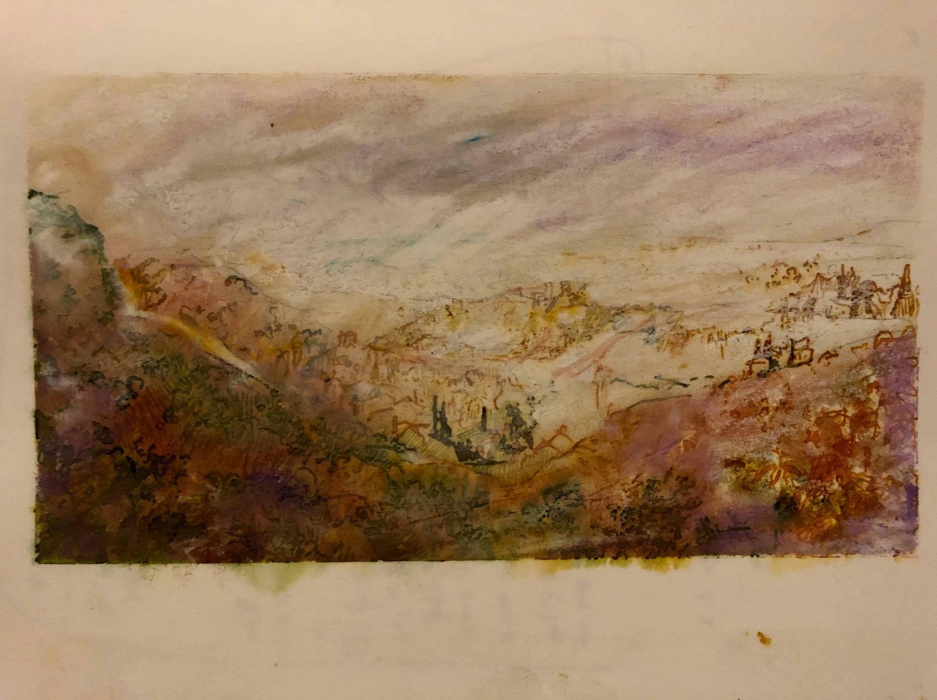 Looking toward the valley. Ink and color on paper. A page from one of my journals.