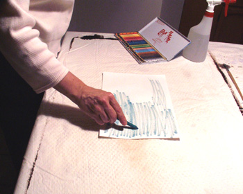 Step one in watercolor crayon demonstration.