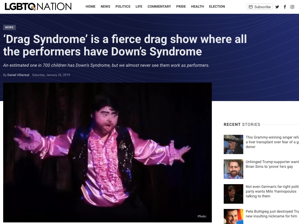 LGBTQ Nation  'Drag Syndrome' is a fierce drag show where all the performers have Down's Syndrome  >>>