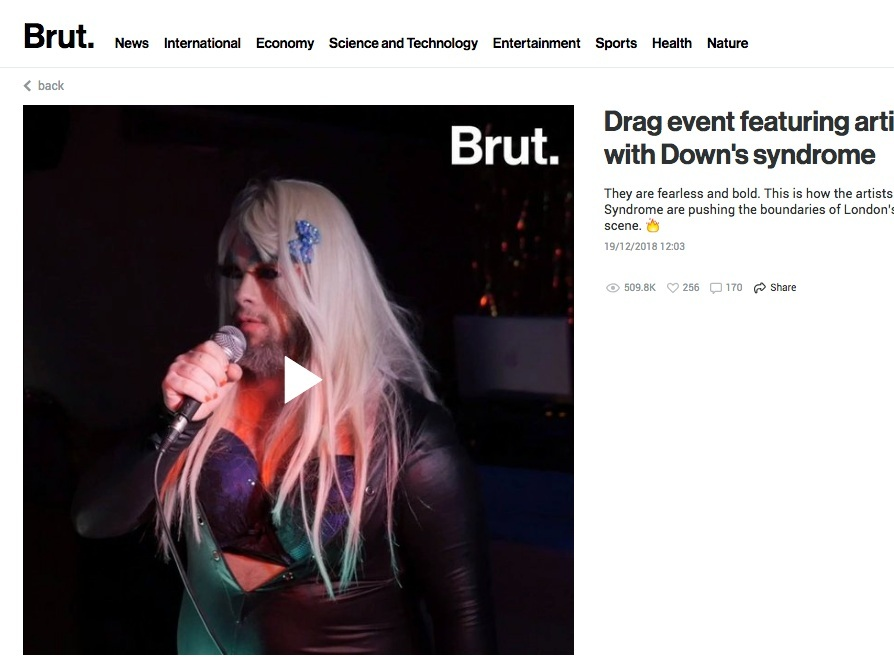 Brut  Drag event featuring artists with Down's syndrome    >>>