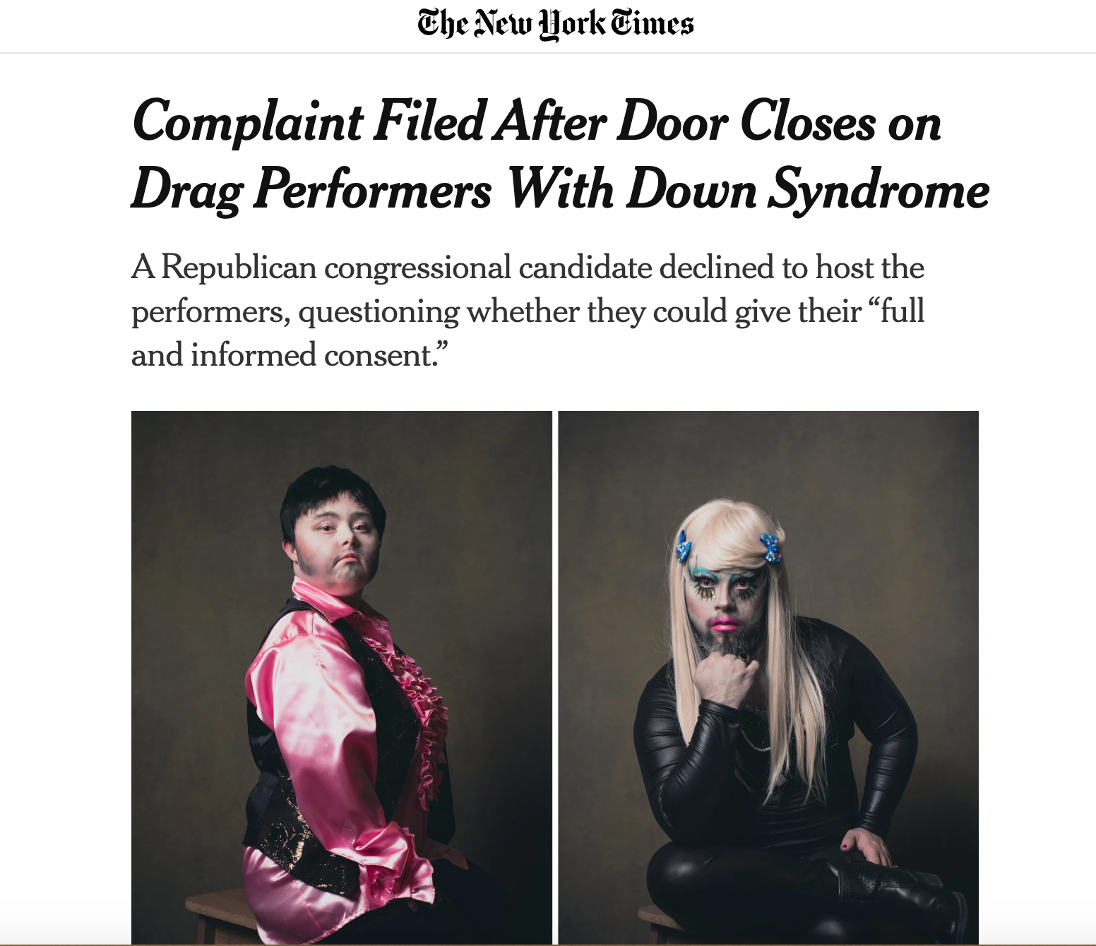 The New York Times : C omplaint Filed After Door Closes on Drag Performers With Down Syndrome