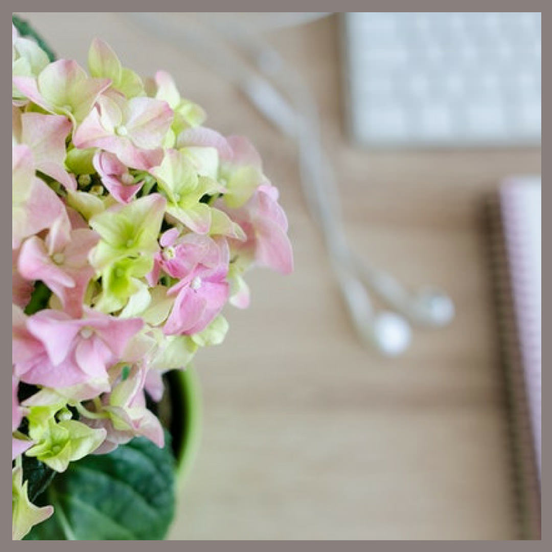 Flowers, earplugs notepad and keyboard.jpg