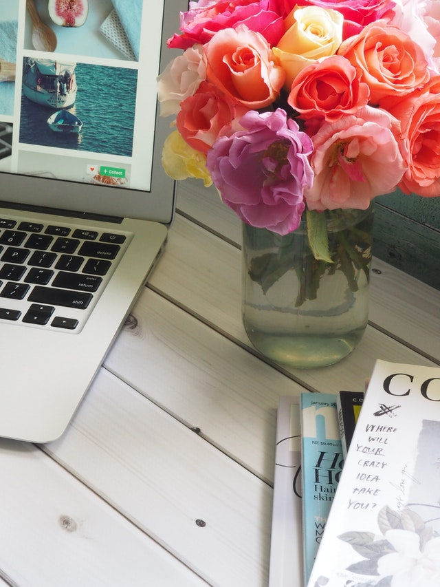 computer flowers and magazines.jpg