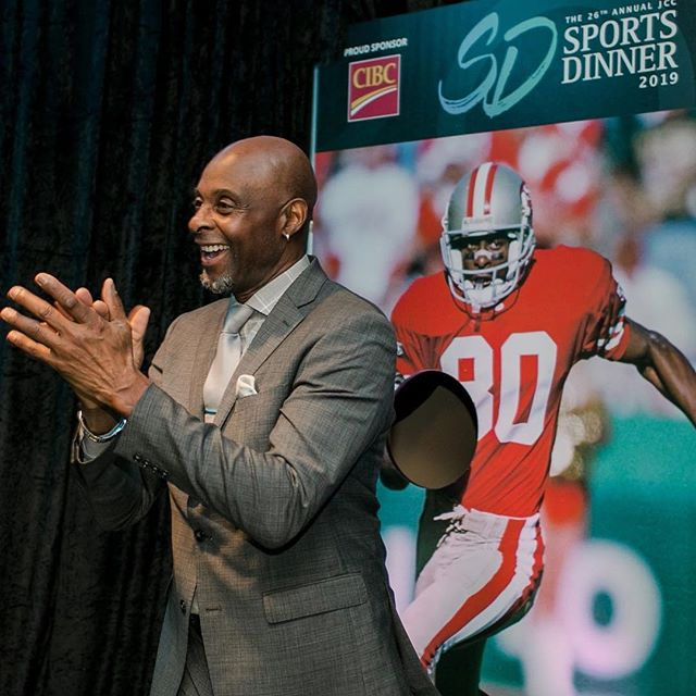 Seeing double?  The actual @JerryRice in front of Jerry Rice at the #jccsportsdinner Ultimate Quarterback Challenge. A big thank you to Playoffs Sponsors Diamond Parking @GRTCanadian @GrosvenorAmer @GuardTeck @DeepGreenEng @JLLCanada Koffman Kalef LLP and Kornfeld LLP ! #grateful