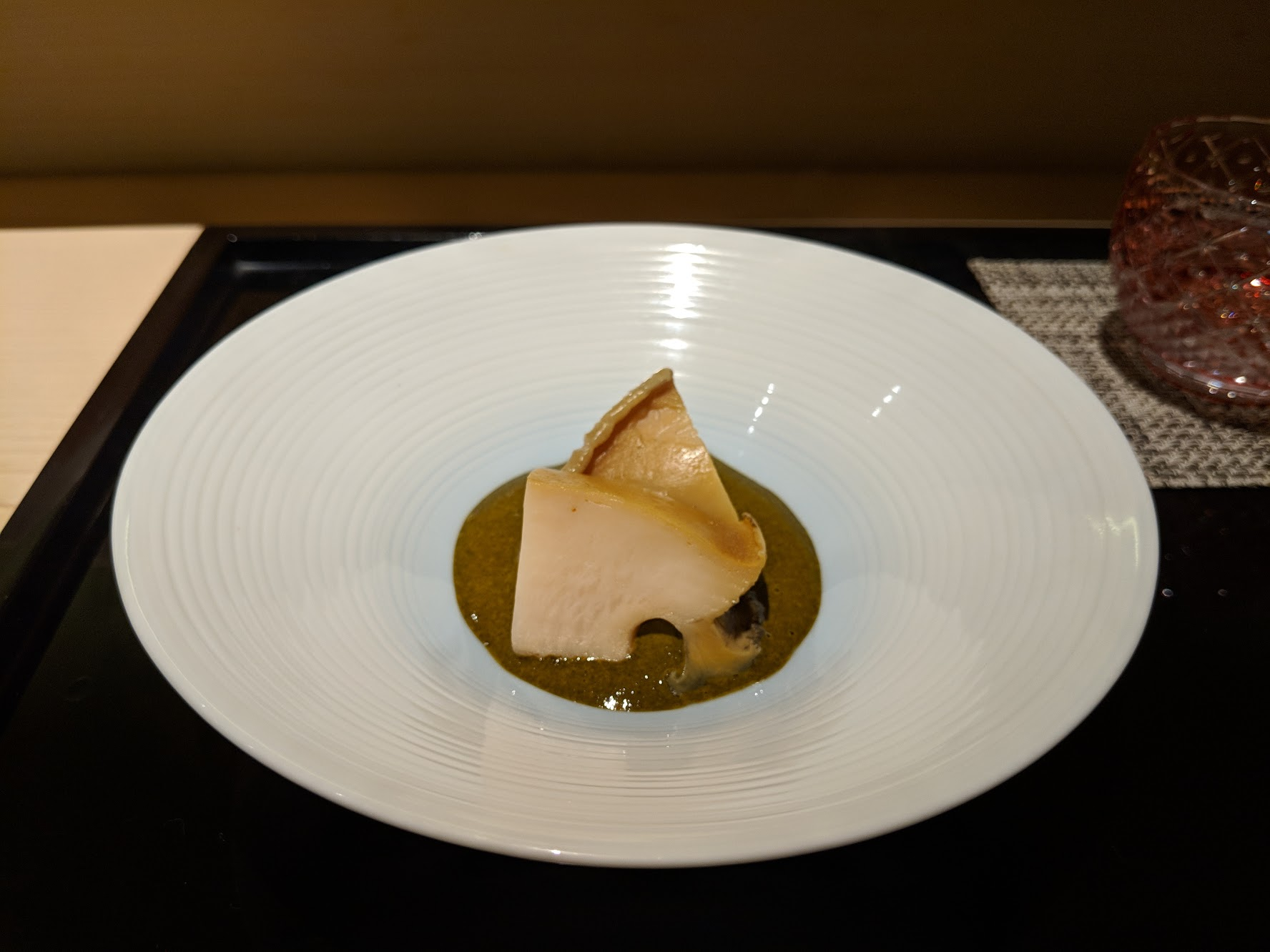 Abalone in its liver sauce.