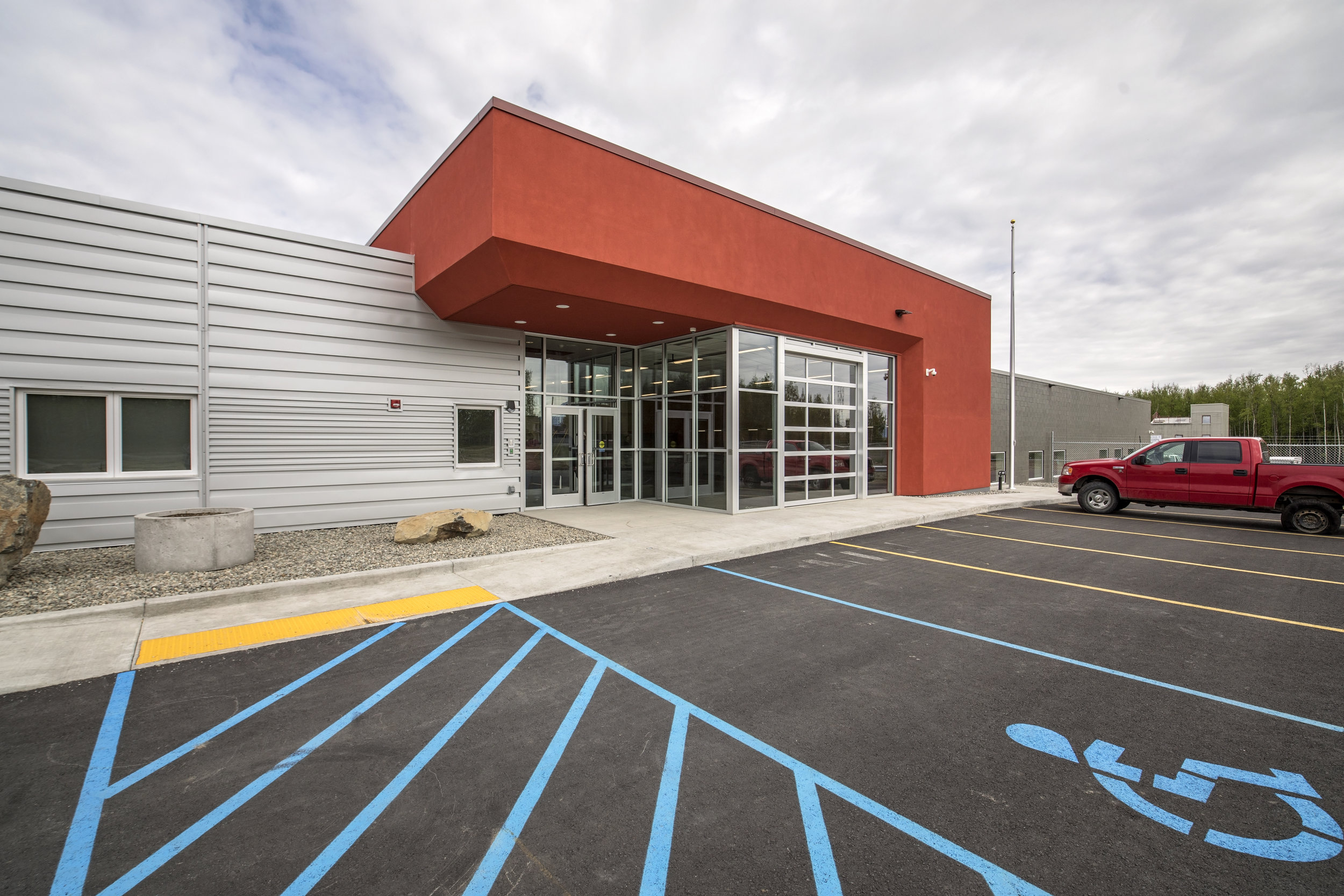 Fire Station 6-2 - New Fire Station 6-2 located at 4568 South Knik-Goose Bay Road, in Wasilla, Alaska. The design shall accommodate fire vehicles, drive thru apparatus bays, living quarters, training rooms, and administrative offices.