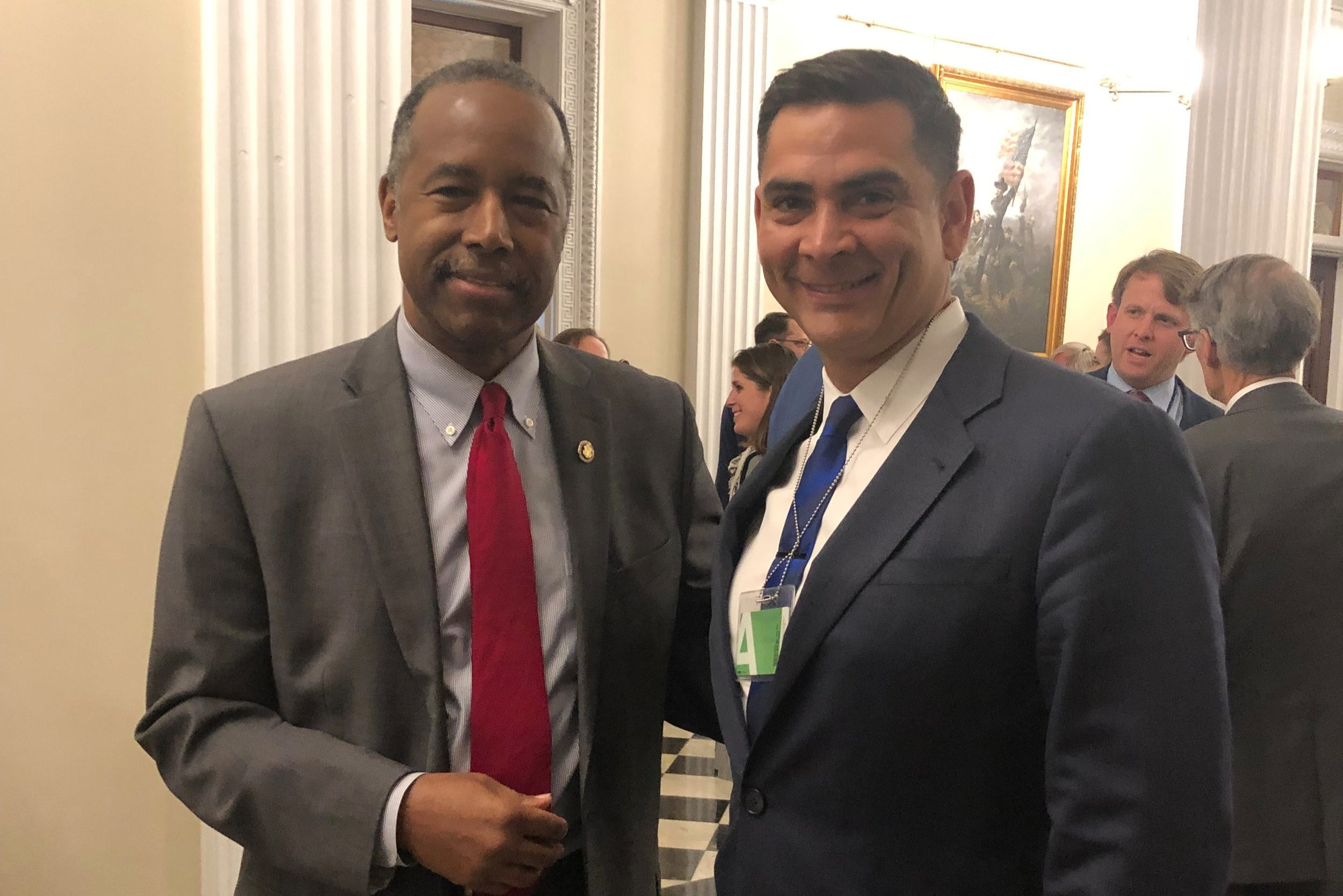 Alex Bhathal and United States Secretary of Housing and Urban Development, Ben Carson.