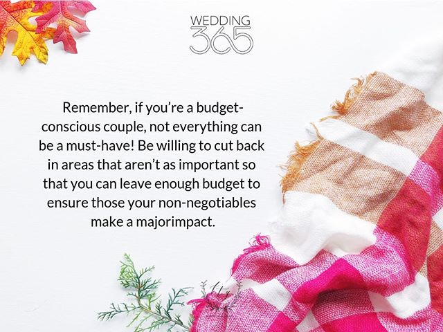 #FTGWedding365 Planning Tip |Wedding planning isn't just about picking out pretty things—there's some serious number-crunching involved, too. If you're working to prioritize your spending, sit down with your fiance and anyone who's helping fund your event, and make a list of what's important to you. Then, decide which items are non-negotiables and which you can scale back.  Remember, if you're a budget-conscious couple, not everything can be a must-have! Be willing to cut back in areas that aren't as important so that you can leave enough budget to ensure those your non-negotiables make a major impact.