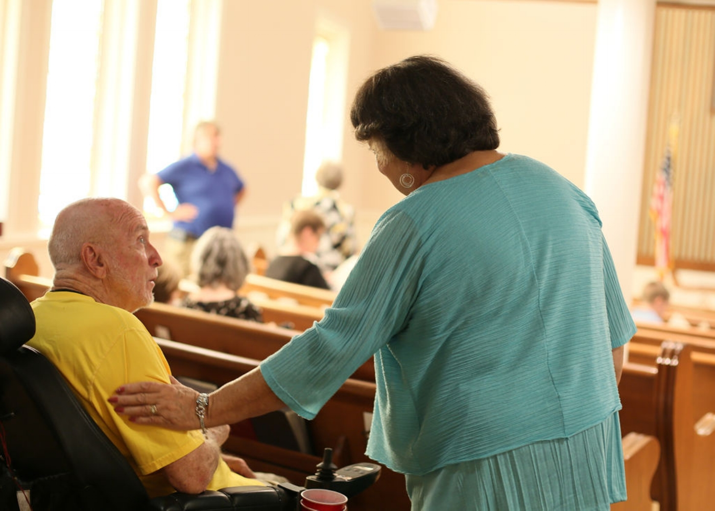 """- """"My favorite thing about FUMC are the people. I have found the people at this church to be friendly...inviting...and encouraging.""""— Cathy Campbell"""
