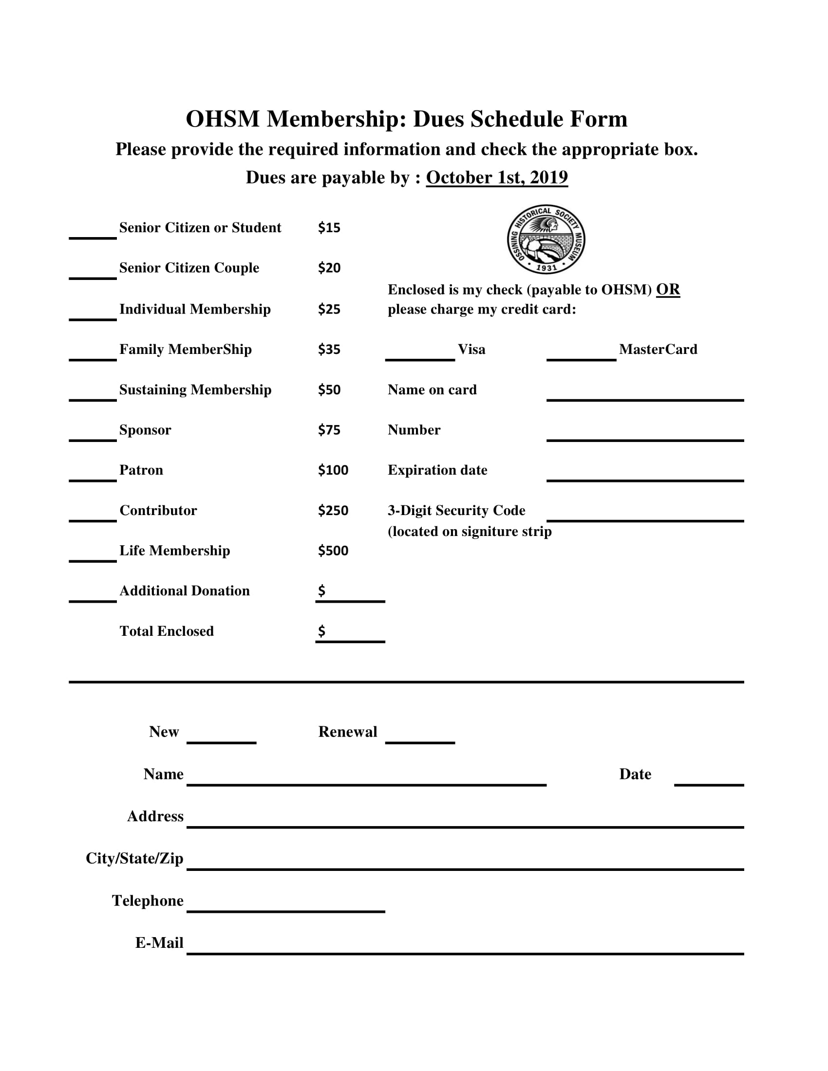 Click Document - To download your printable Membership form