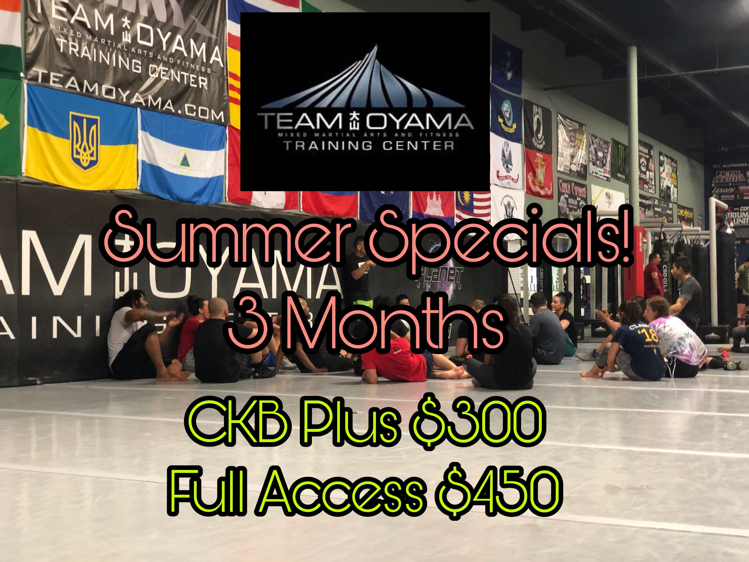 These memberships are pre paid for 3 months in advance and are a great way to spend your summer or try out the gym before committing to a 12-month!  CKB Plus includes CKB and Fight Fit. Full Access includes CKB, Fight Fit, Nogi, Wrestling, MMA, and access to the Functional Fit Room.
