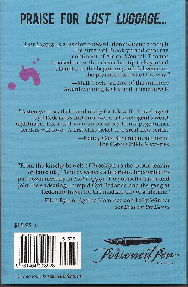 The Back Cover of LOST LUGGAGE by Wendall Thomas