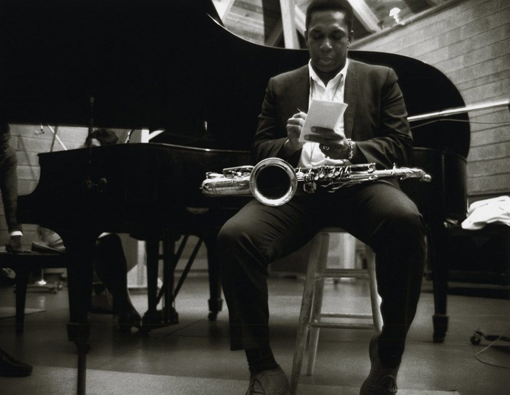 John Coltrane photo from photos of the A Love Supreme session, by Chuck Stewart.