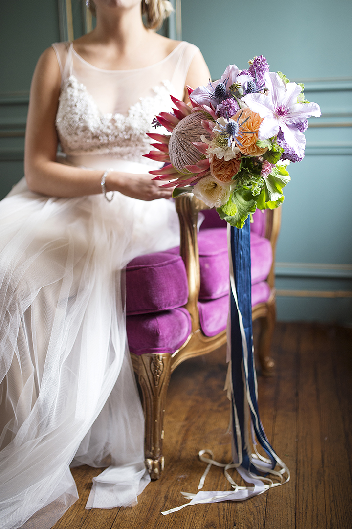 Dresser Mansion, Tulsa Oklahoma Wedding | Ely Fair Photography© | Dress by Watters | Florals by Birdie Blooms | King Protea Bouquet | Dress by Waters