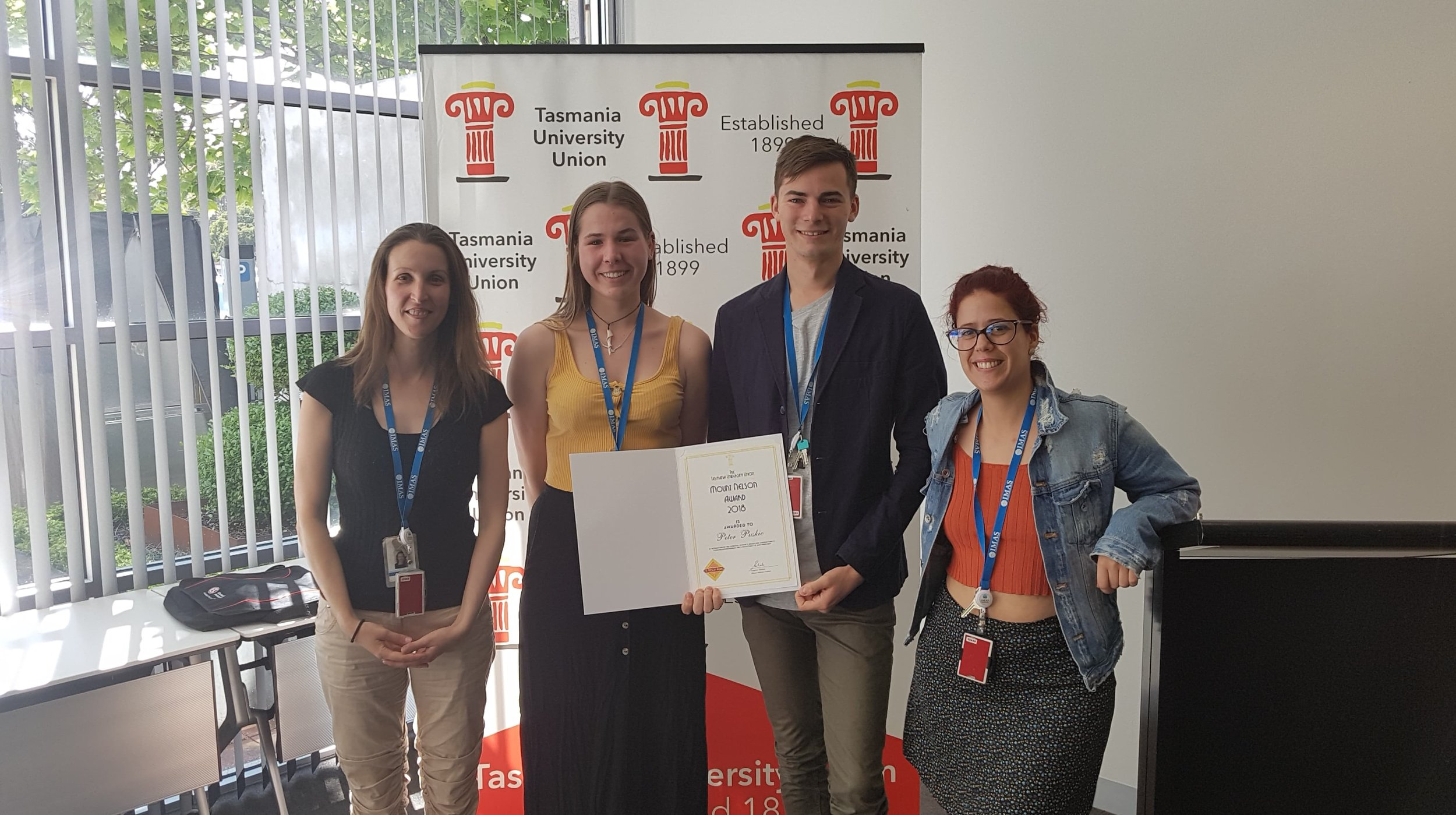 Peter (3rd from left) celebrating his Mount Nelson Award with fellow Adrifters Jennifer Lavers, Megan Grant, and Catarina Goncalves.