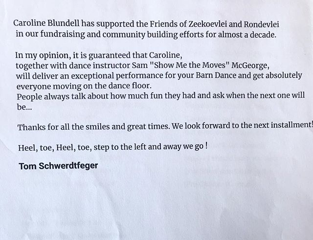 A lovely reference about our annual Zeekoeivlei dance. Thanks so much Tom Schwerdtfeger 😊