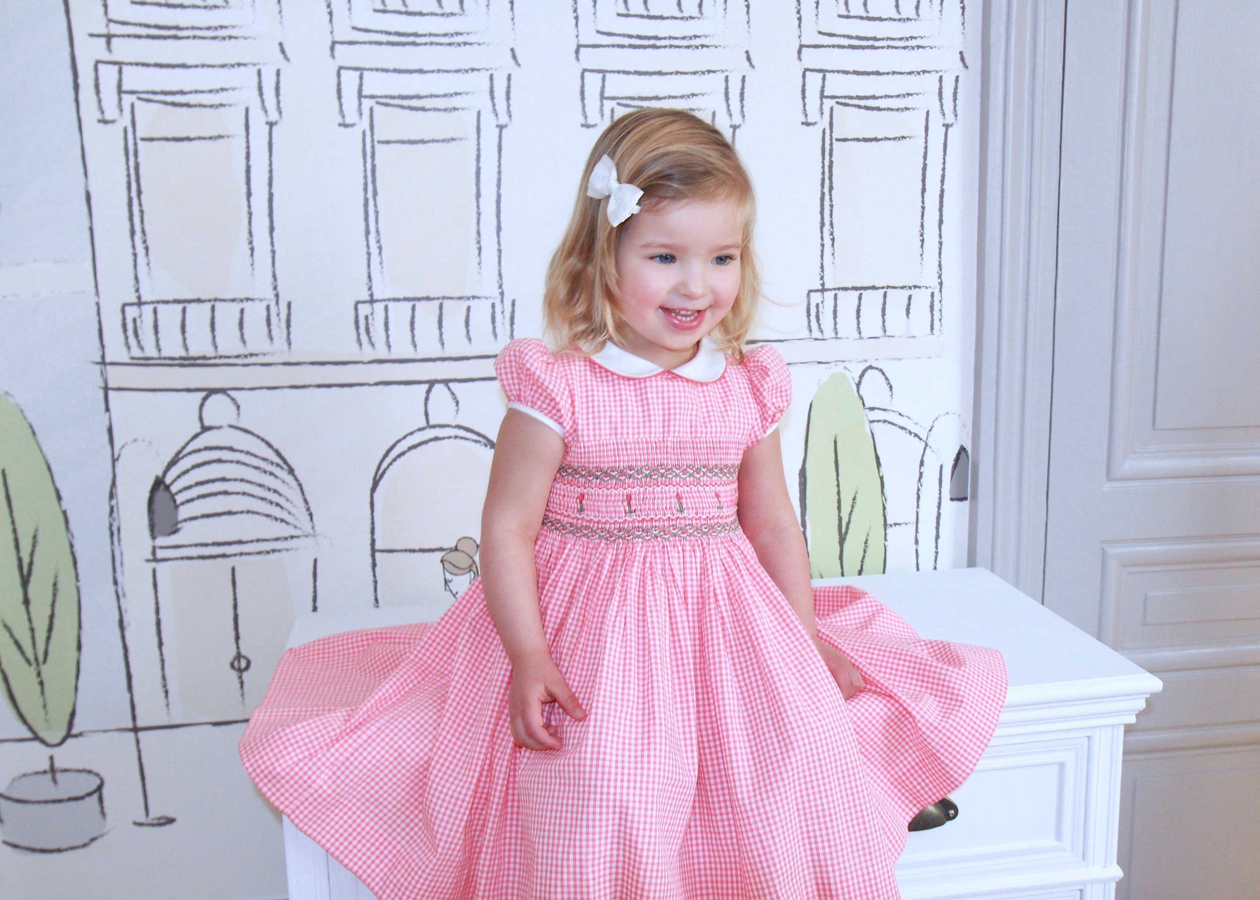 Handmade gingham Cerise smocked dress