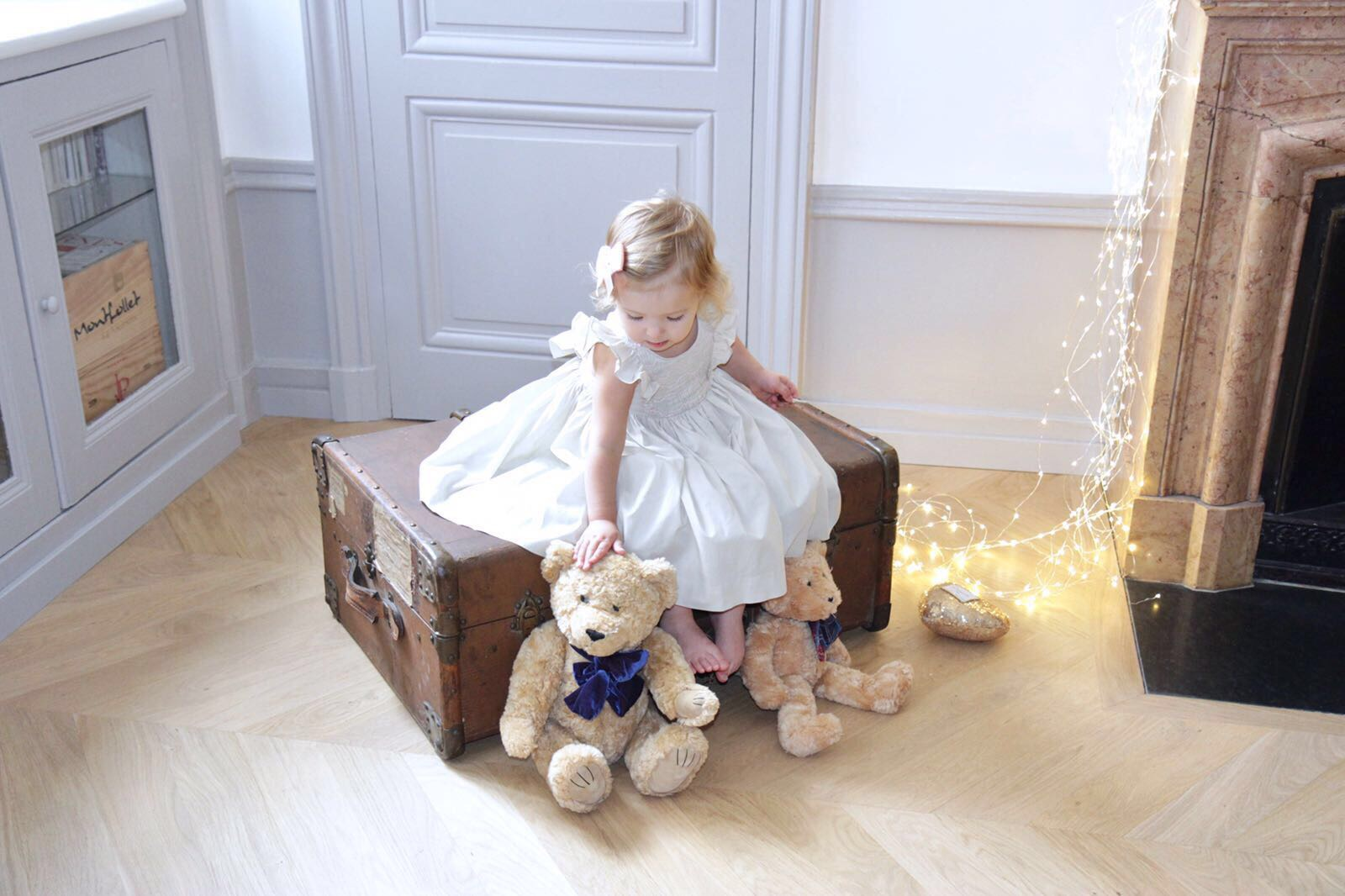 Handmade beige Netti smocked dress