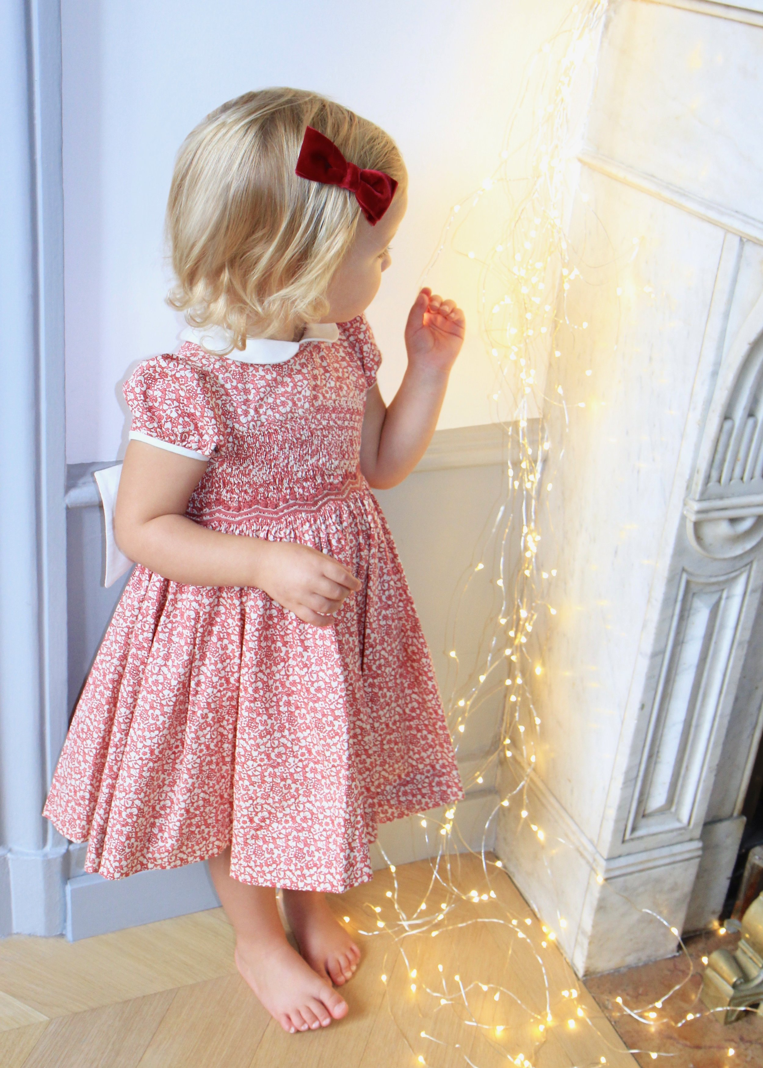 Handmade Christmas Cerise smocked dress