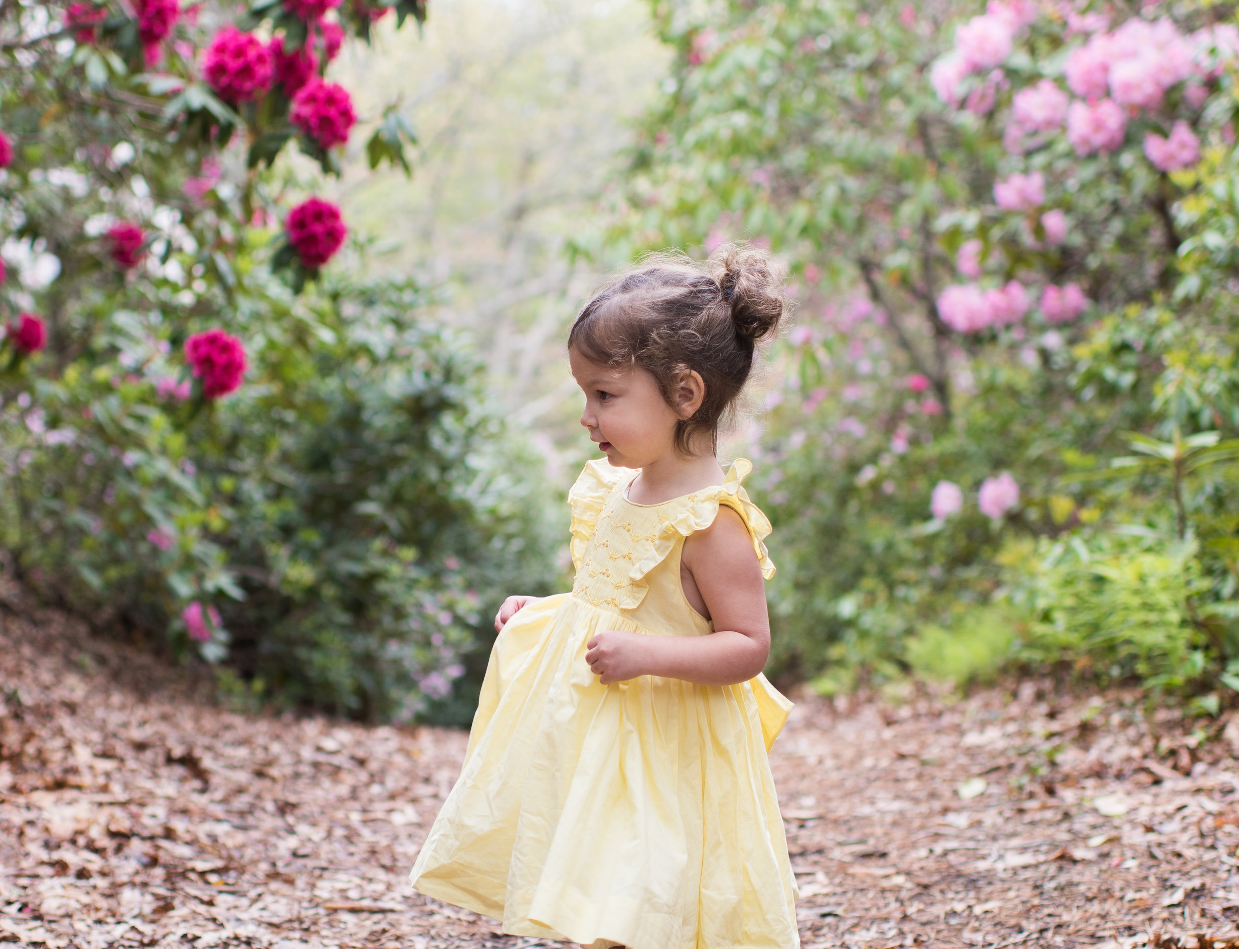 Handmade yellow Netti smocked dress