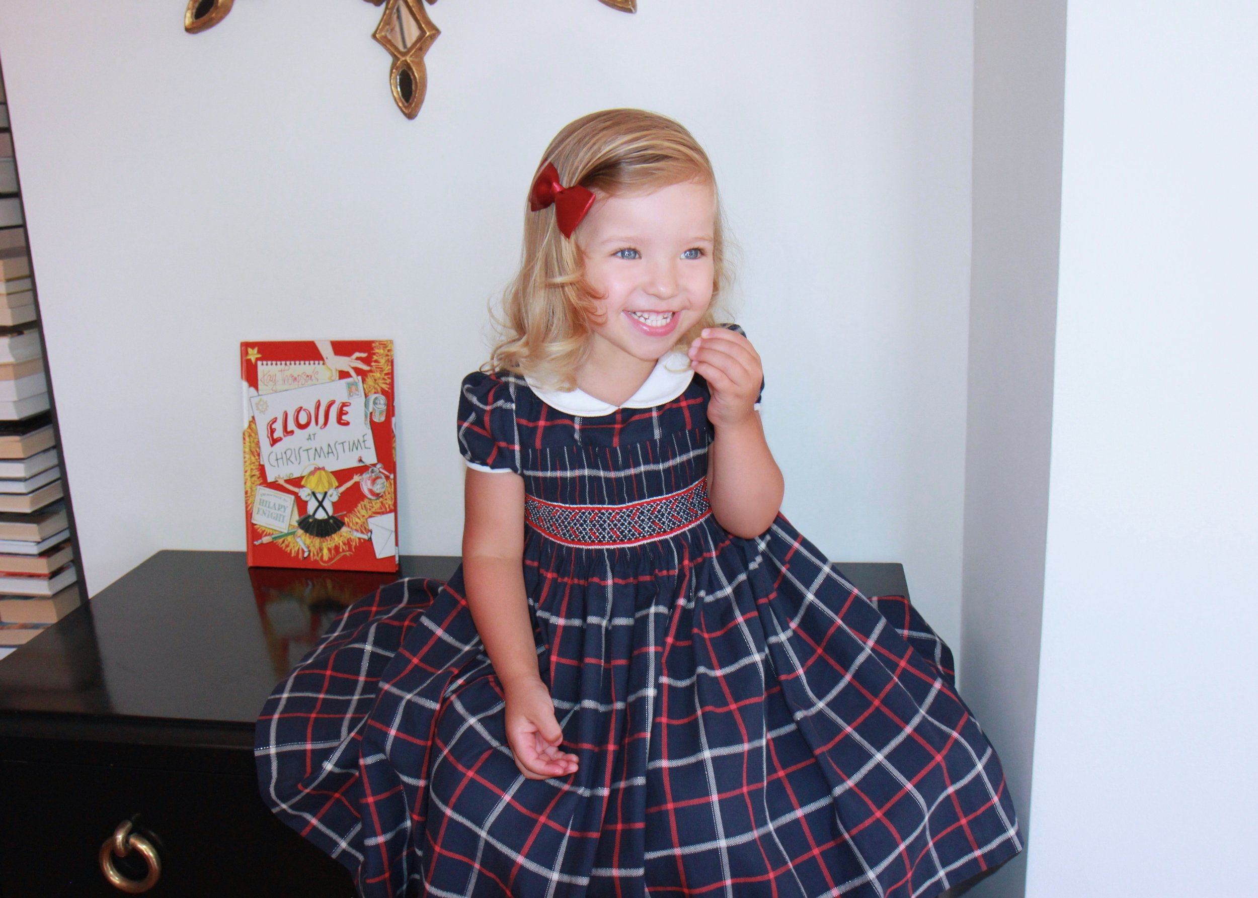 Handmade tartan Cerise smocked dress