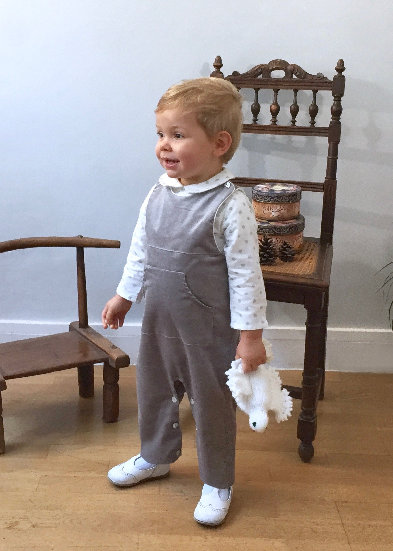 Baby boy grey velvet dungaree