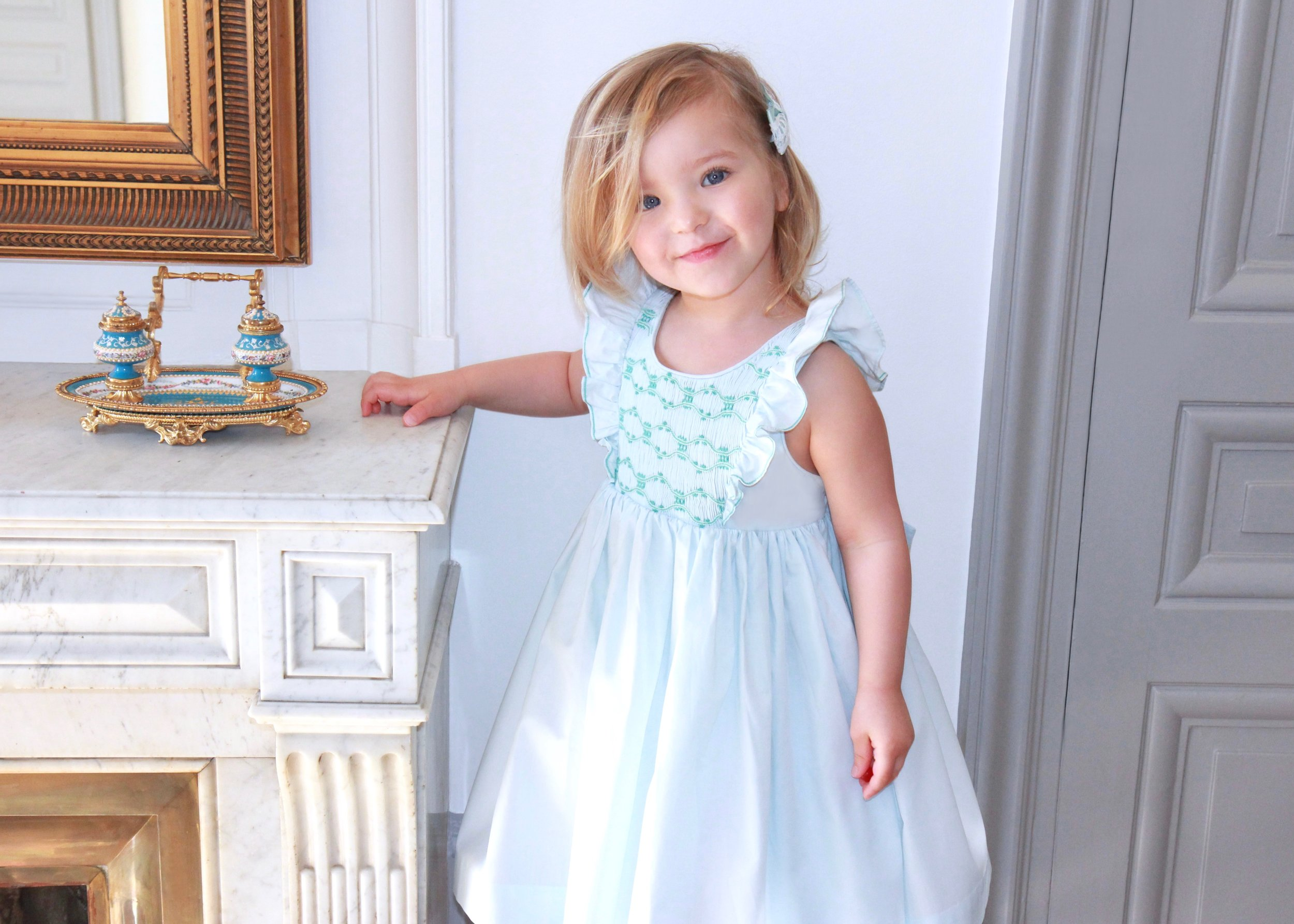 Handmade sky blue Netti smocked dress