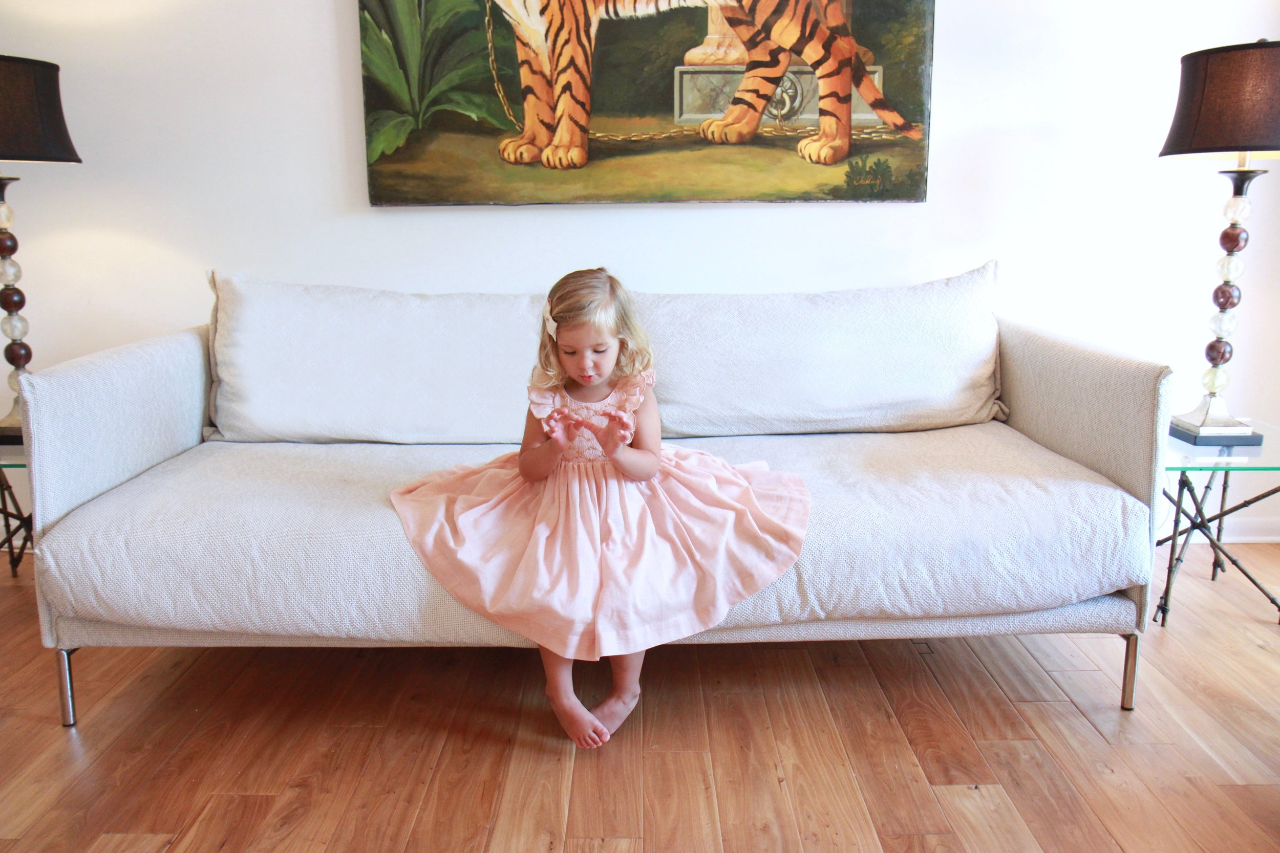 Handmade caramel Netti smocked dress