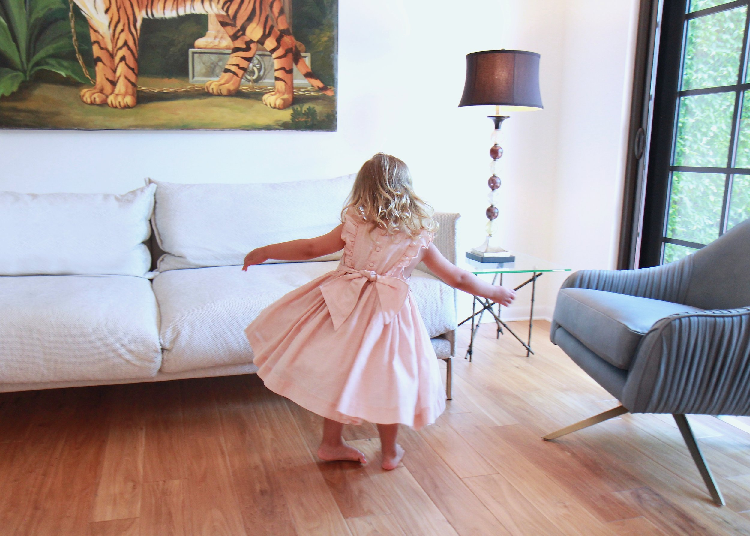 Handmade smocked Netti dress with tulle lining - Paris boutique for kids