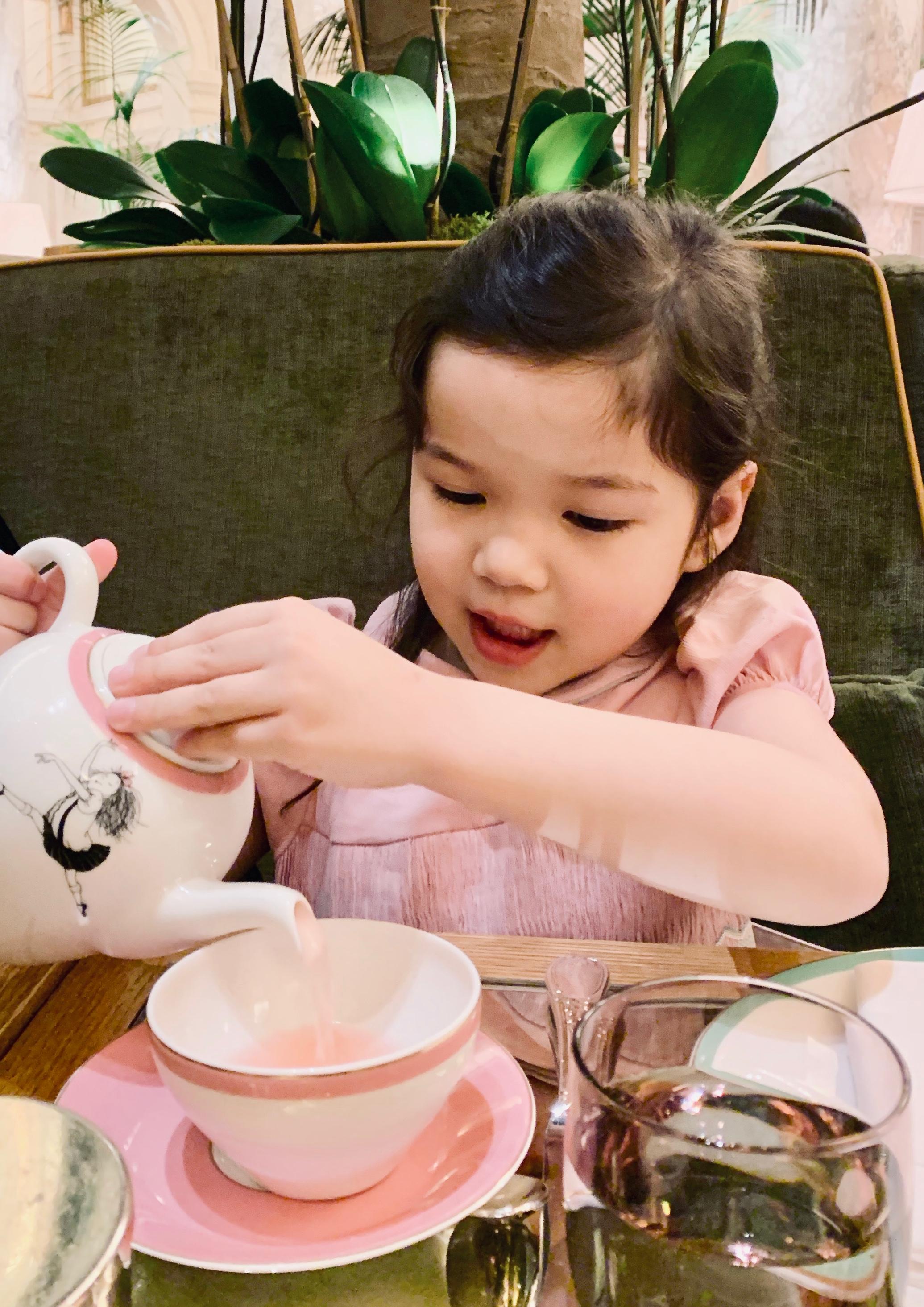 Tea at the Plaza Hotel New York - Kate is wearing her favorite handmade pink velvet dress