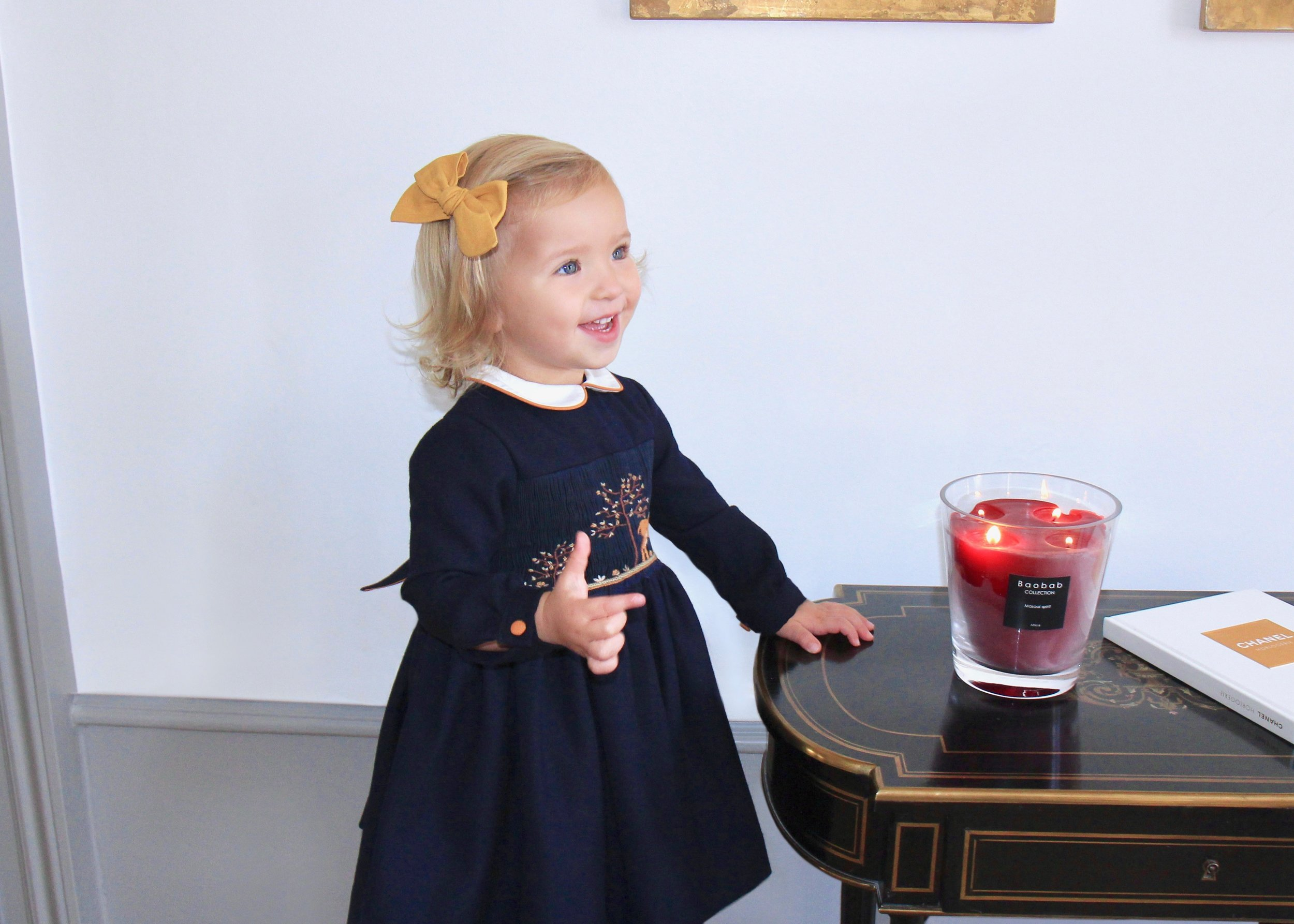 Beautiful thick cotton navy smocked dress