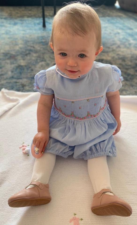 L'Île aux Fées - handmade smocked rompers - baby bubble - blue - summer outfit little girl