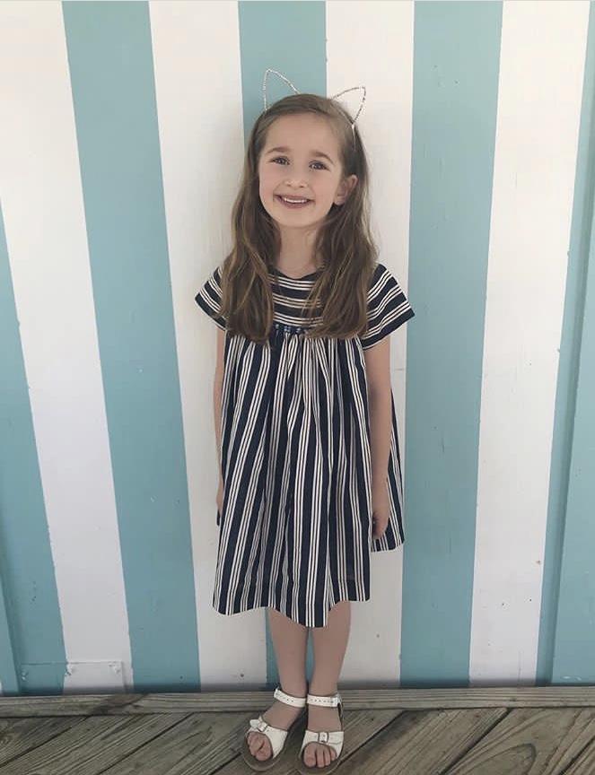 Handmade  striped summer dress - children's boutique Paris
